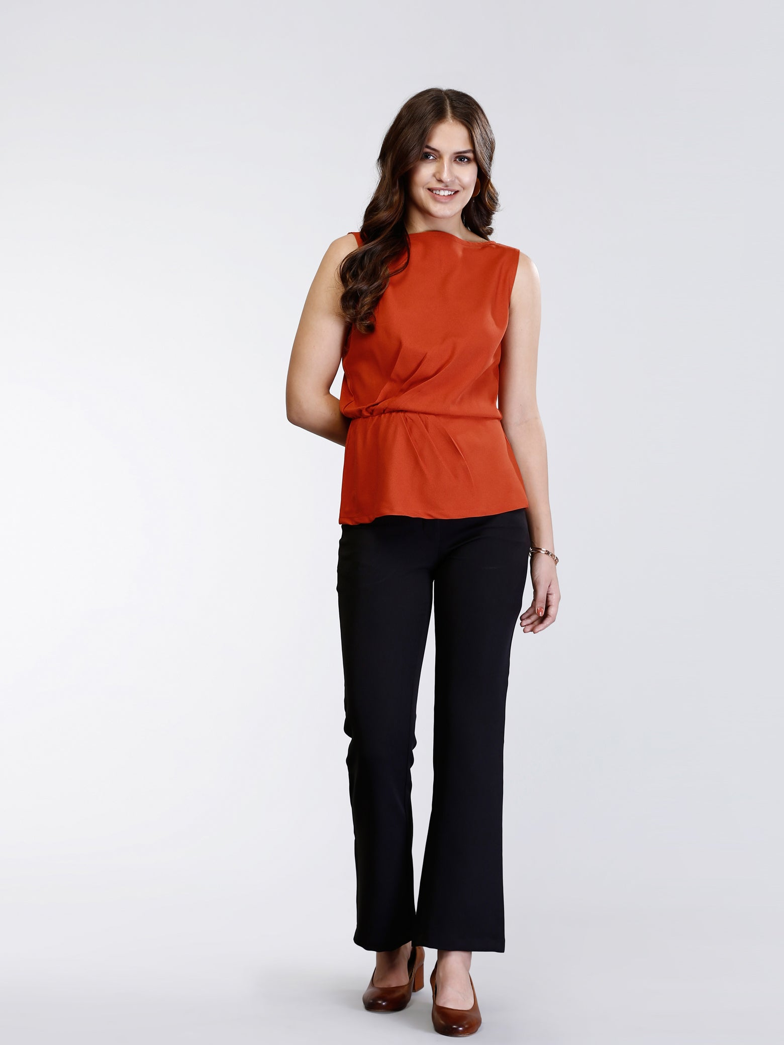 Boat Neck Pleated Peplum Top - Rust