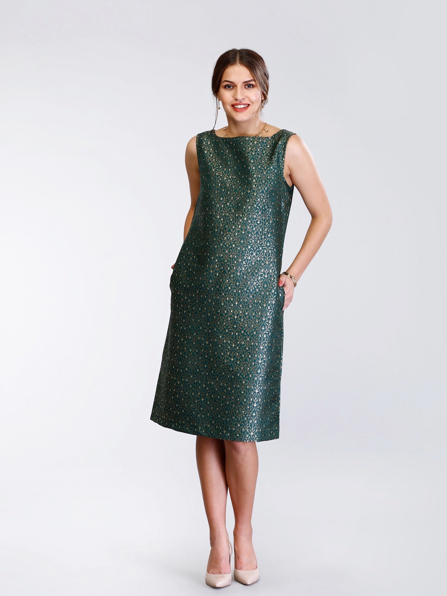 Boat Neck Silk Brocade Shift Dress - Bottle Green