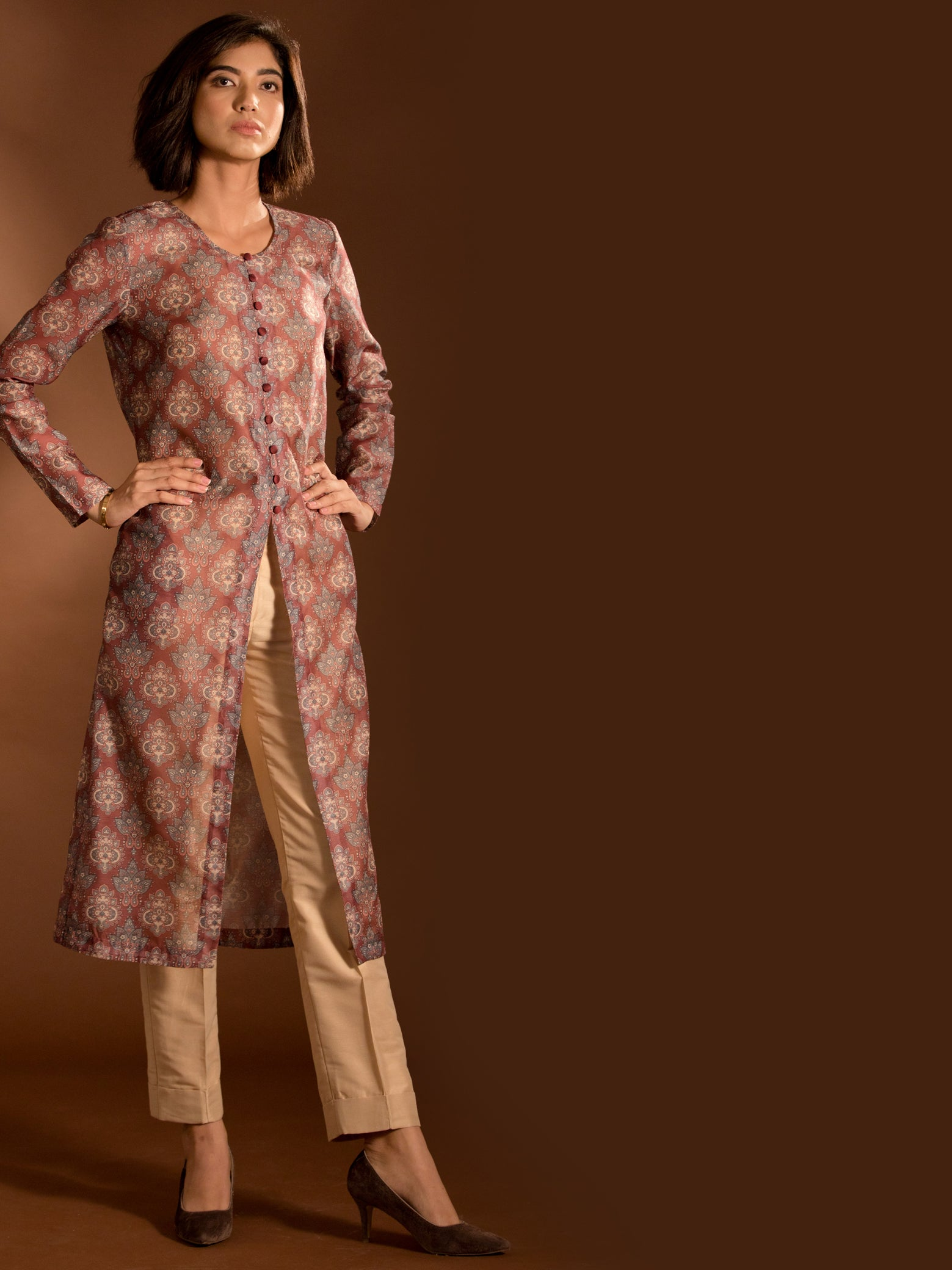 Chanderi Printed Jacket Shrug and Cotton Silk Cigarette Pants Co-ord - Maroon and Gold