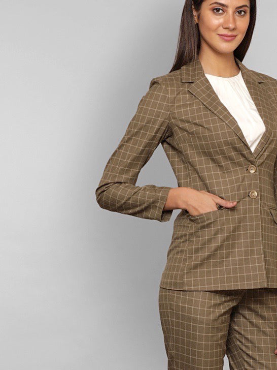 Classic Pant Suit - Brown Check