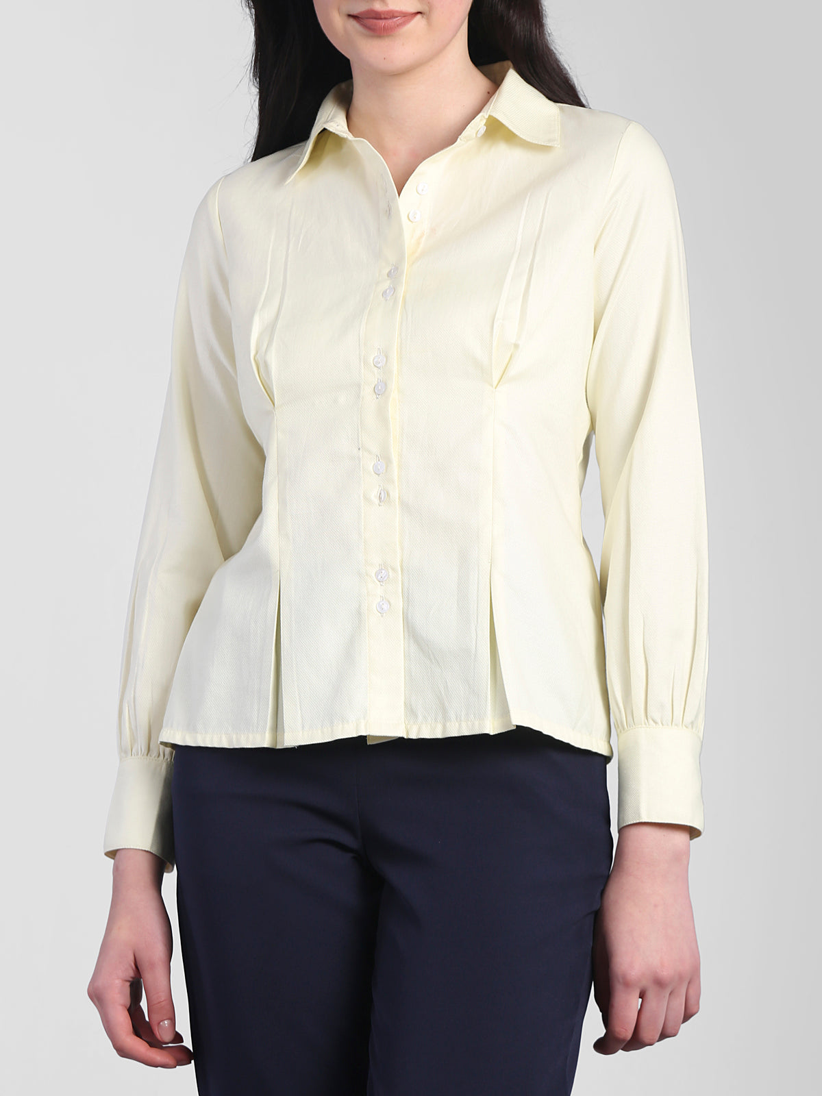 Collared Shirt With Gather Details - Yellow