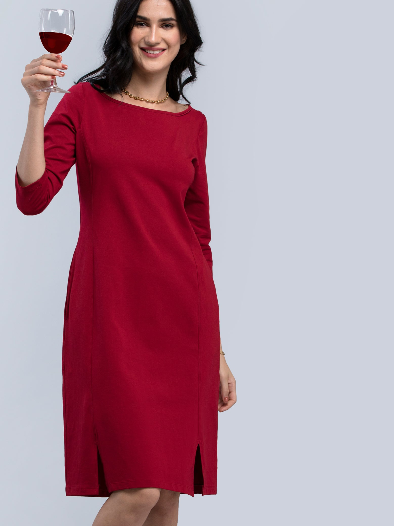 Cotton Boat Neck Knitted A Line Dress - Maroon