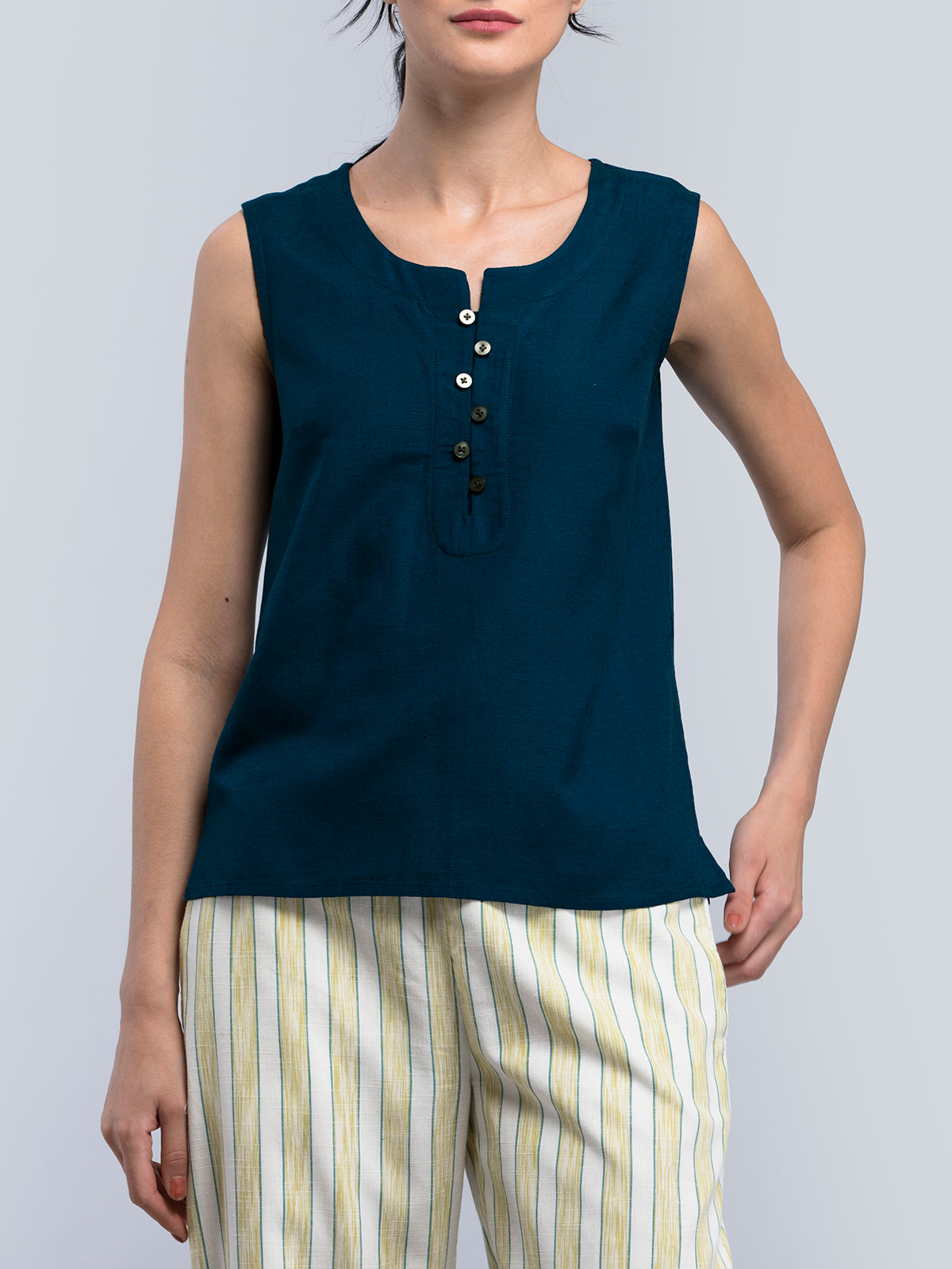 Cotton Button Detail Top - Spinel Teal