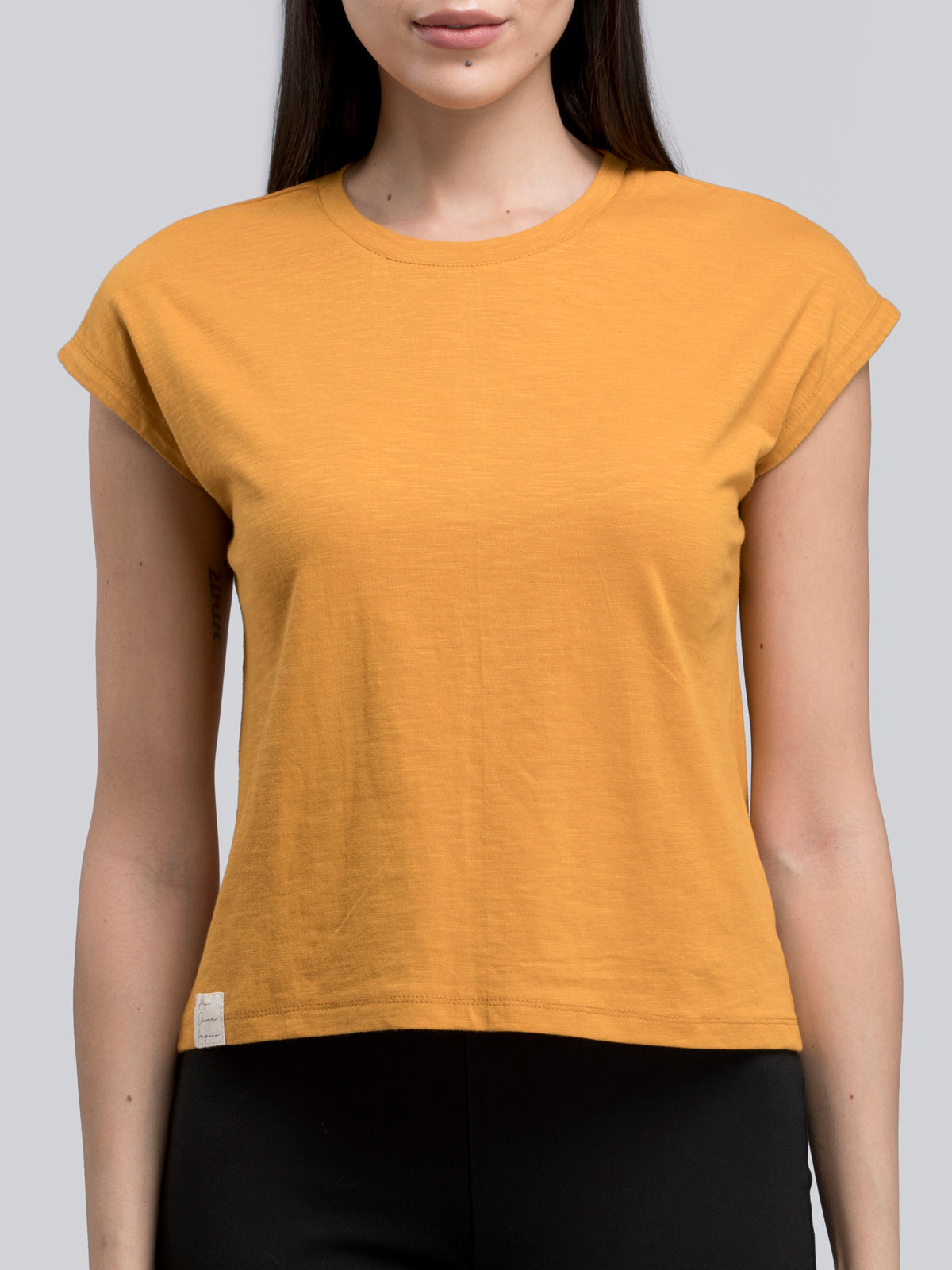 Cotton Drop Shoulder Knitted T Shirt - Mustard