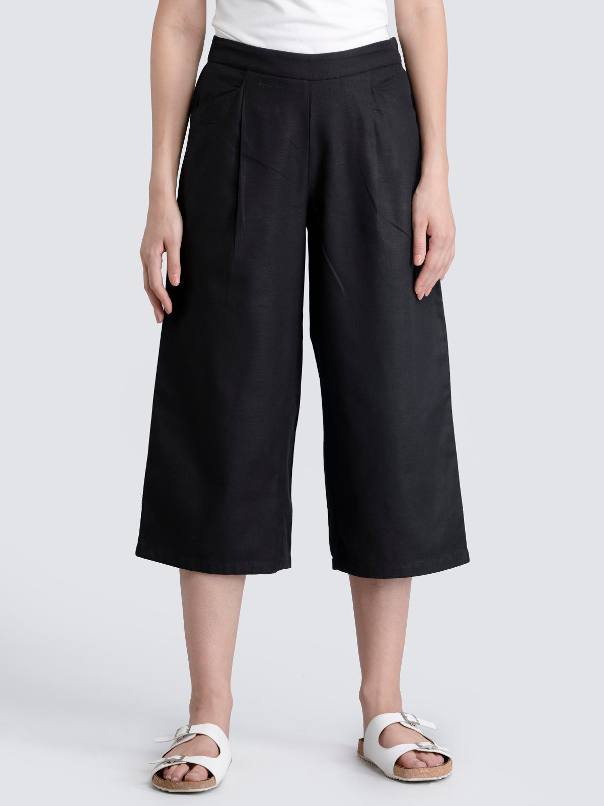 Cotton Flax Pleated Culottes With Elastic - Black