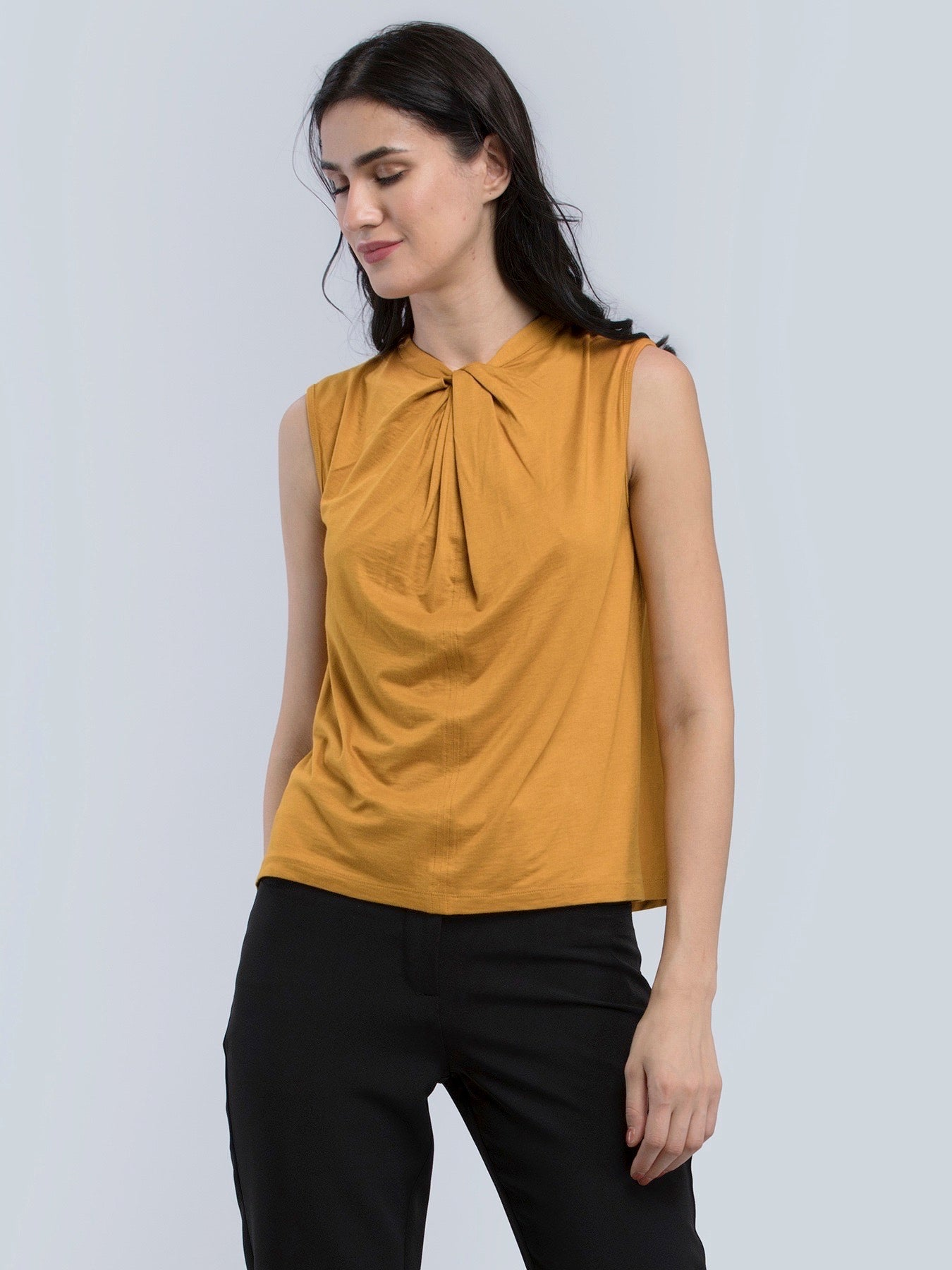 Cotton High Neck Twist Detail Knitted Top - Mustard