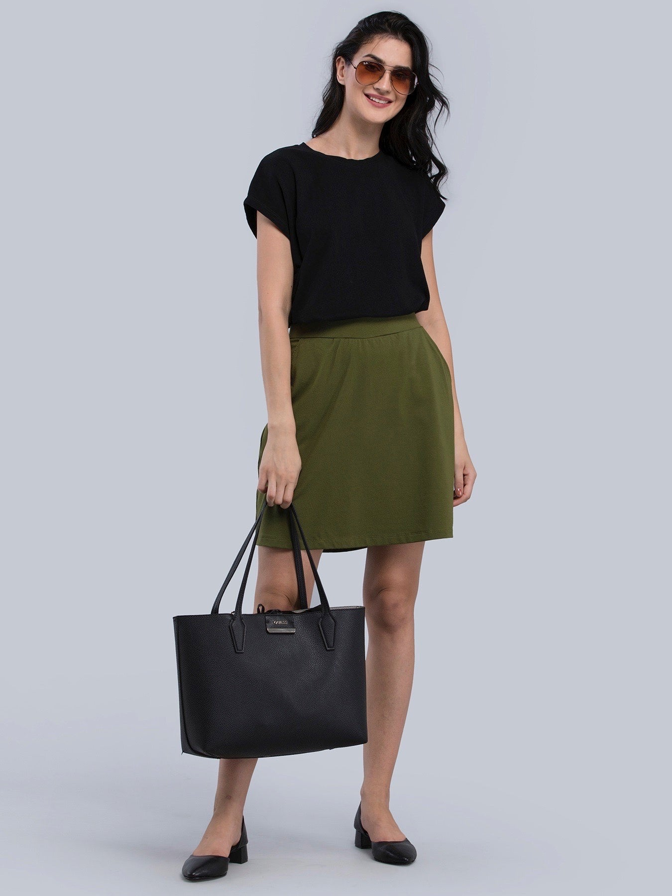 Cotton Knitted Skort - Olive