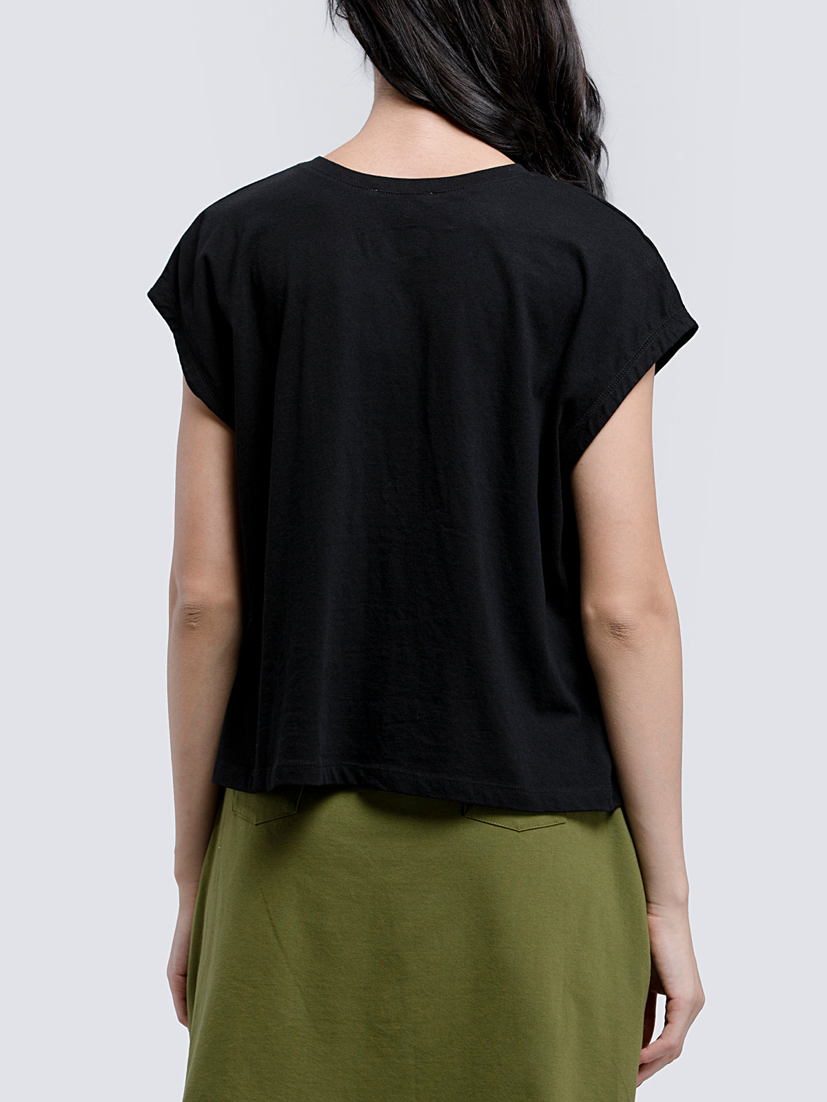 Cotton Lycra Drop Shoulder Knitted T Shirt - Black