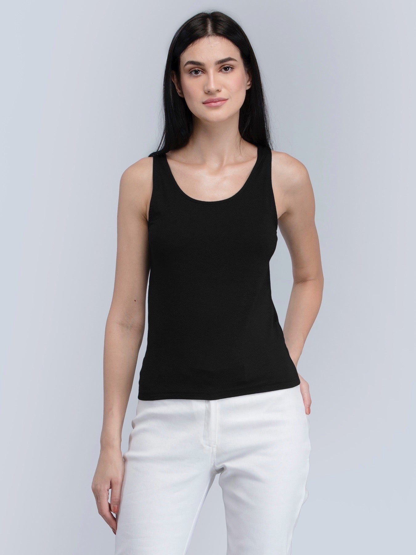 Cotton Round Neck Knitted Camisole - Black