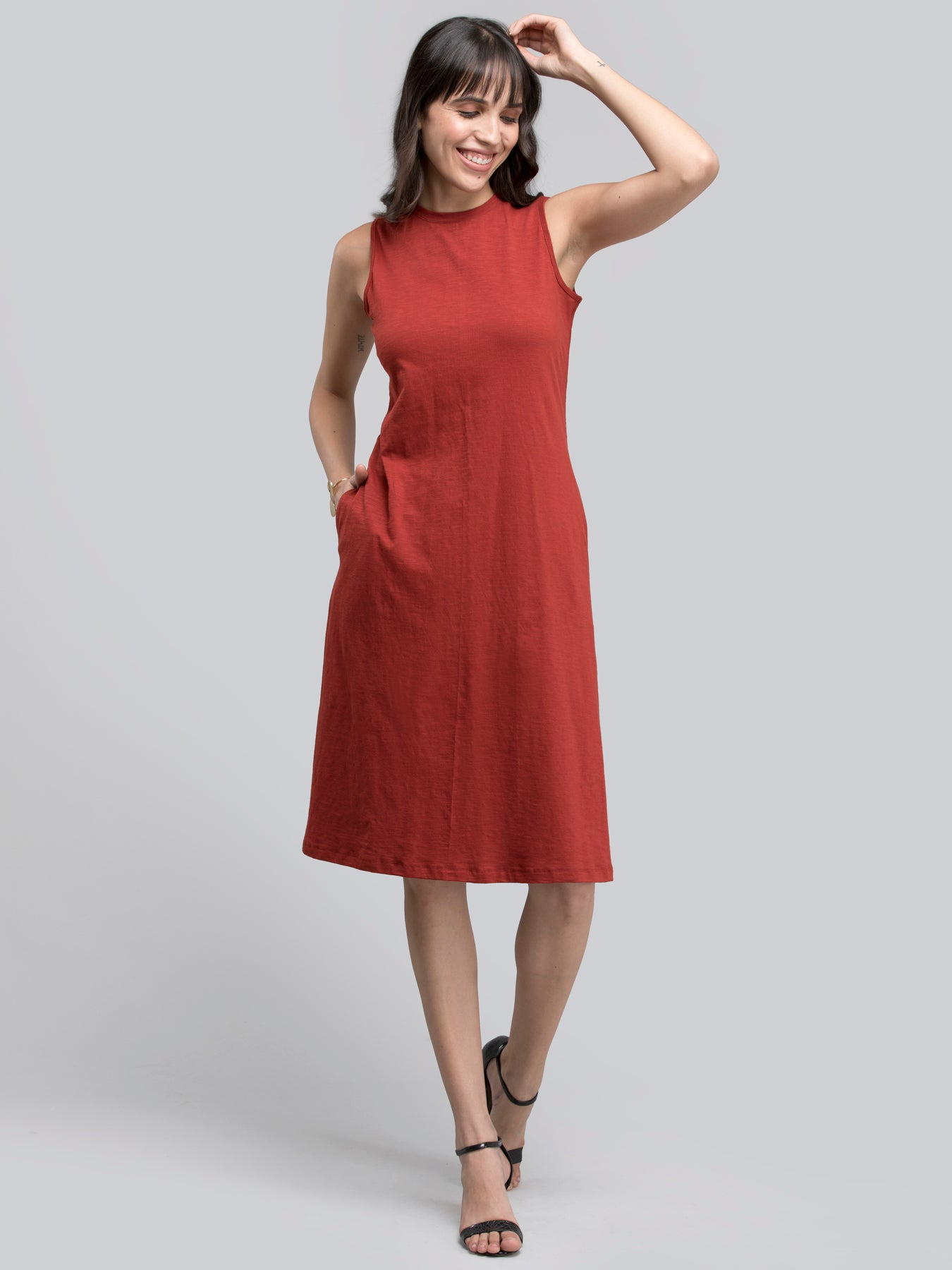 Cotton Round Neck Knitted Dress - Rust