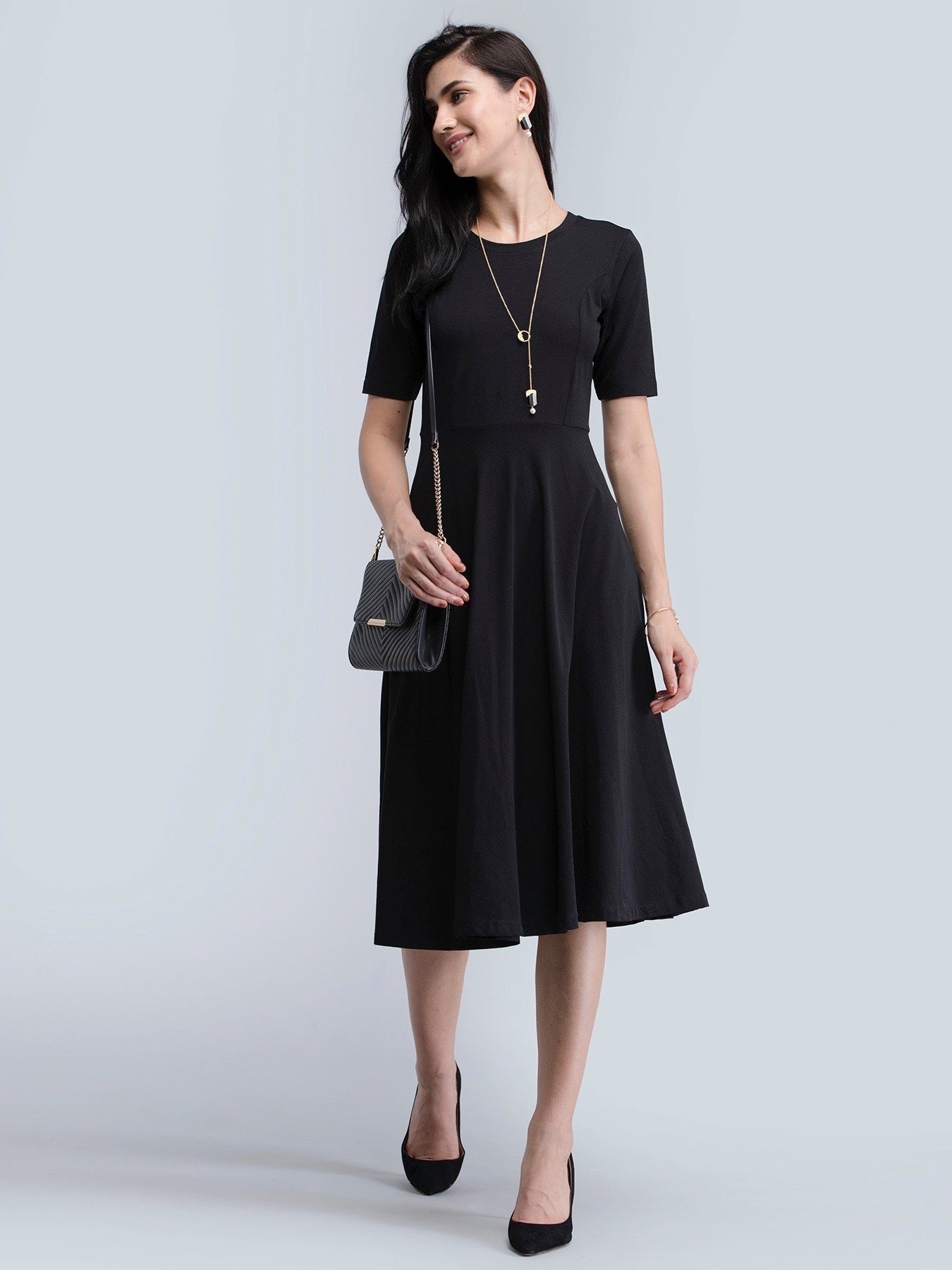 Cotton Round Neck Knitted Fit And Flare Dress - Black