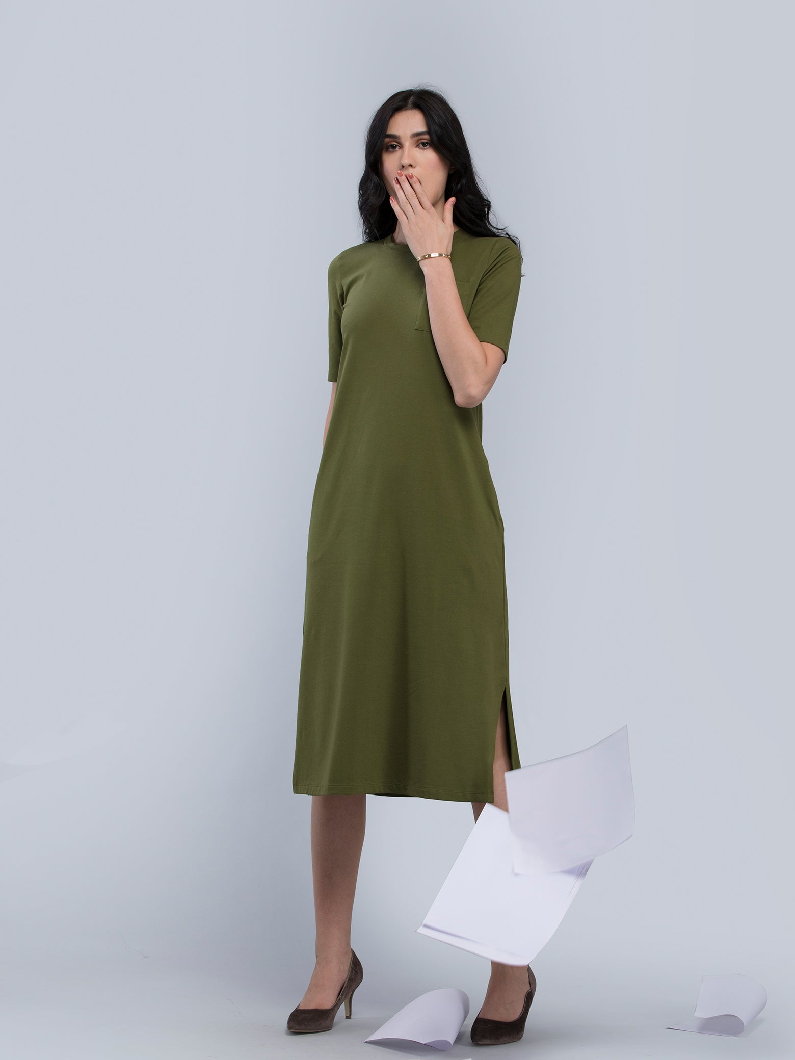 Cotton Round Neck Knitted Midi Dress - Olive