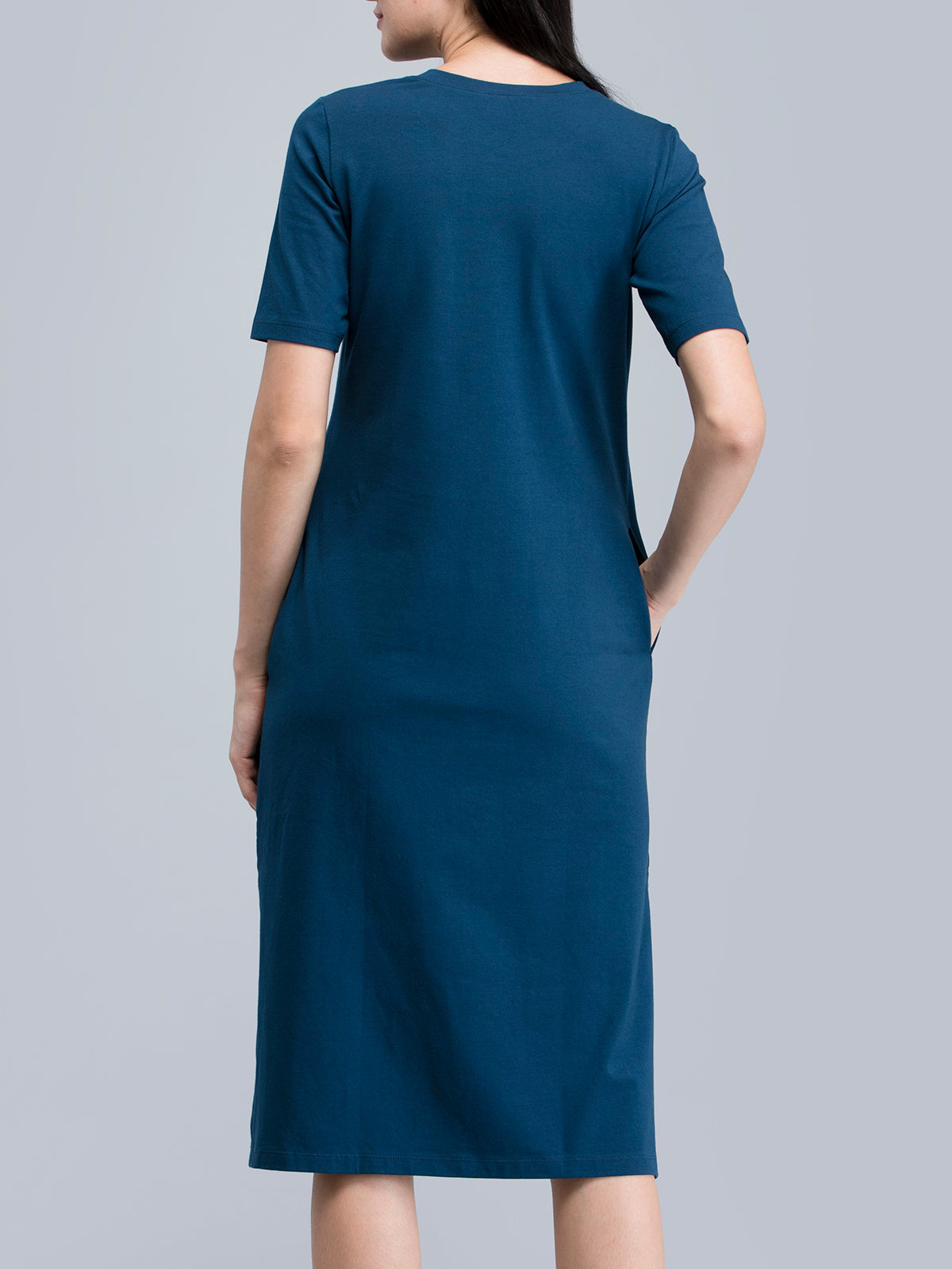 Cotton Round Neck Knitted Midi Dress - Blue