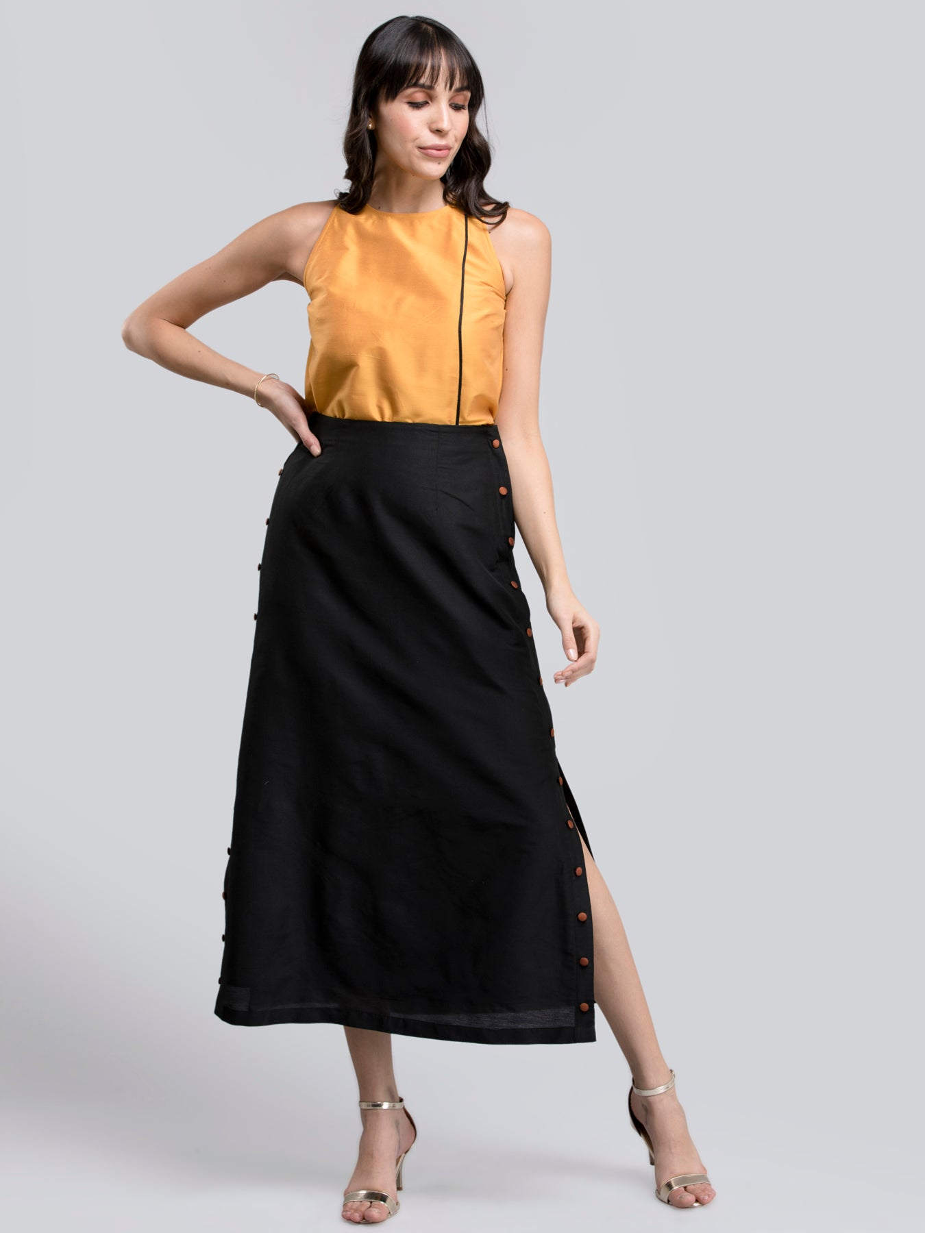 Cotton Silk Colour Block Flared Skirt - Black