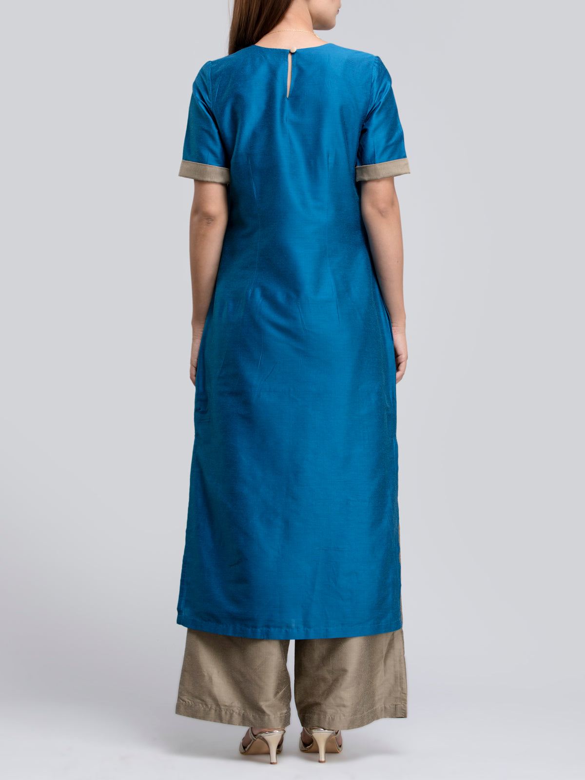 Cotton Silk Colour Block Kurta Dress and Flared Pants Co-ord - Blue and Gold