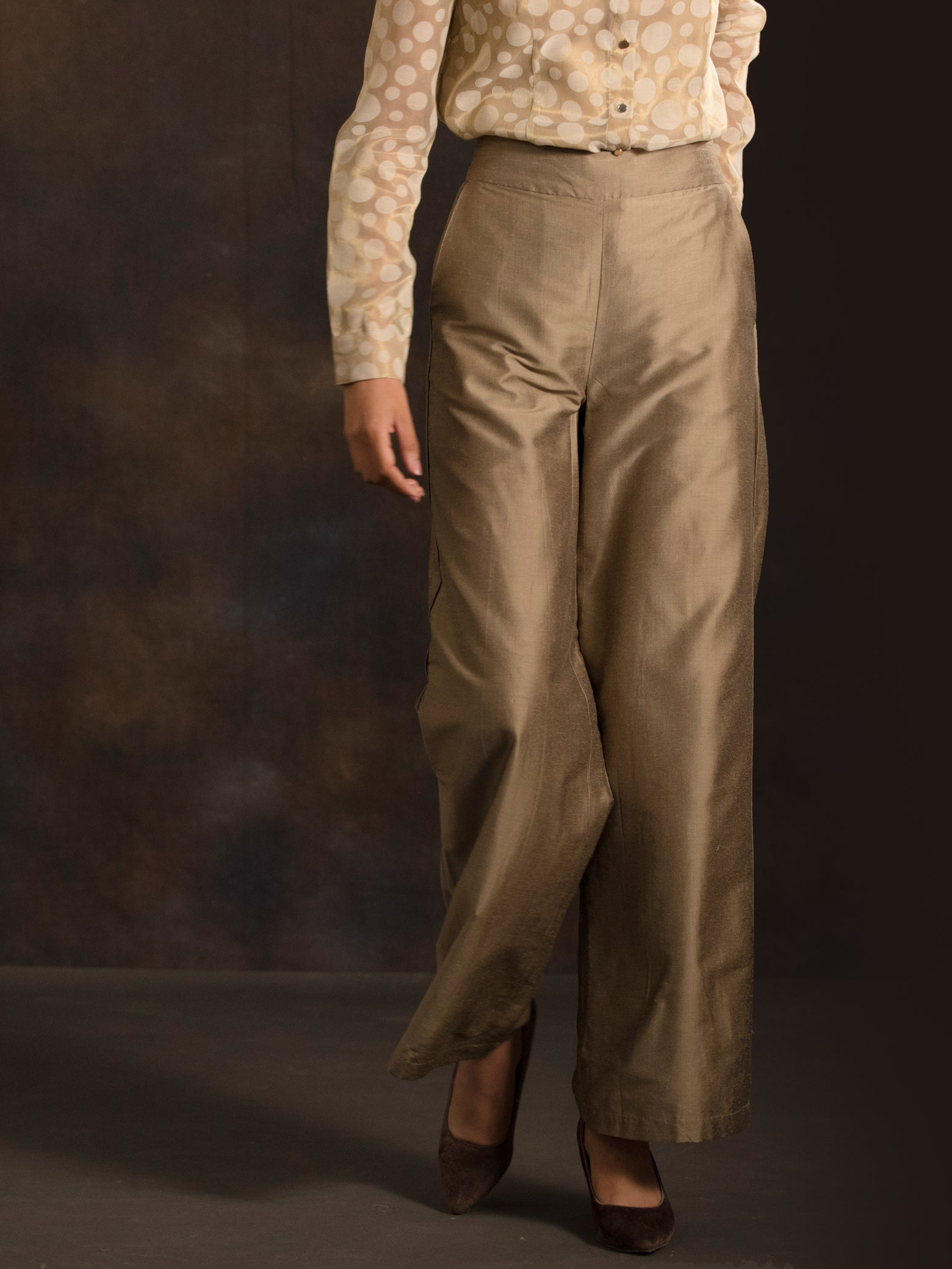 Cotton Silk Flared Pants - Gold