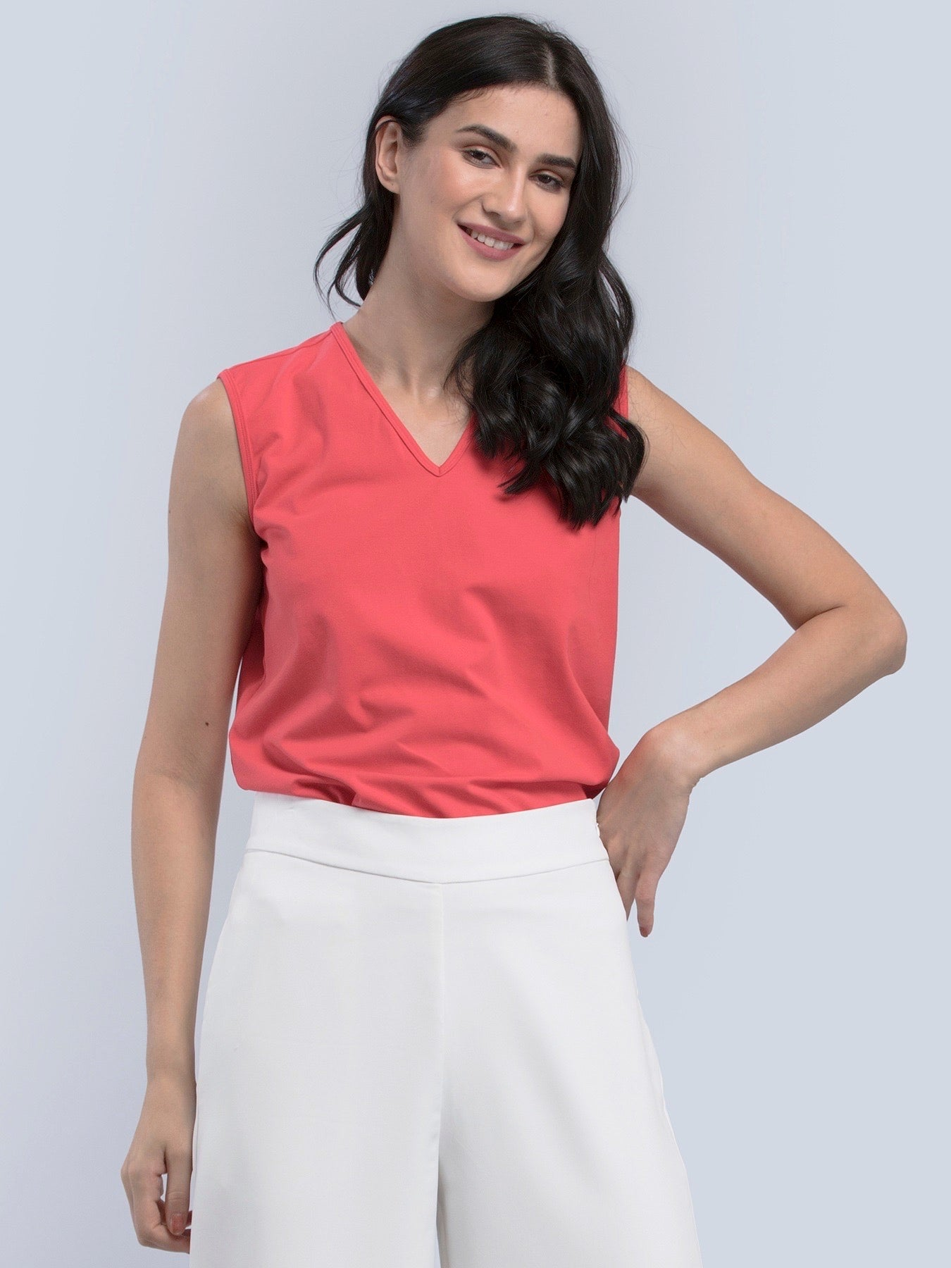 Cotton Sleeveless Knitted T Shirt - Pink