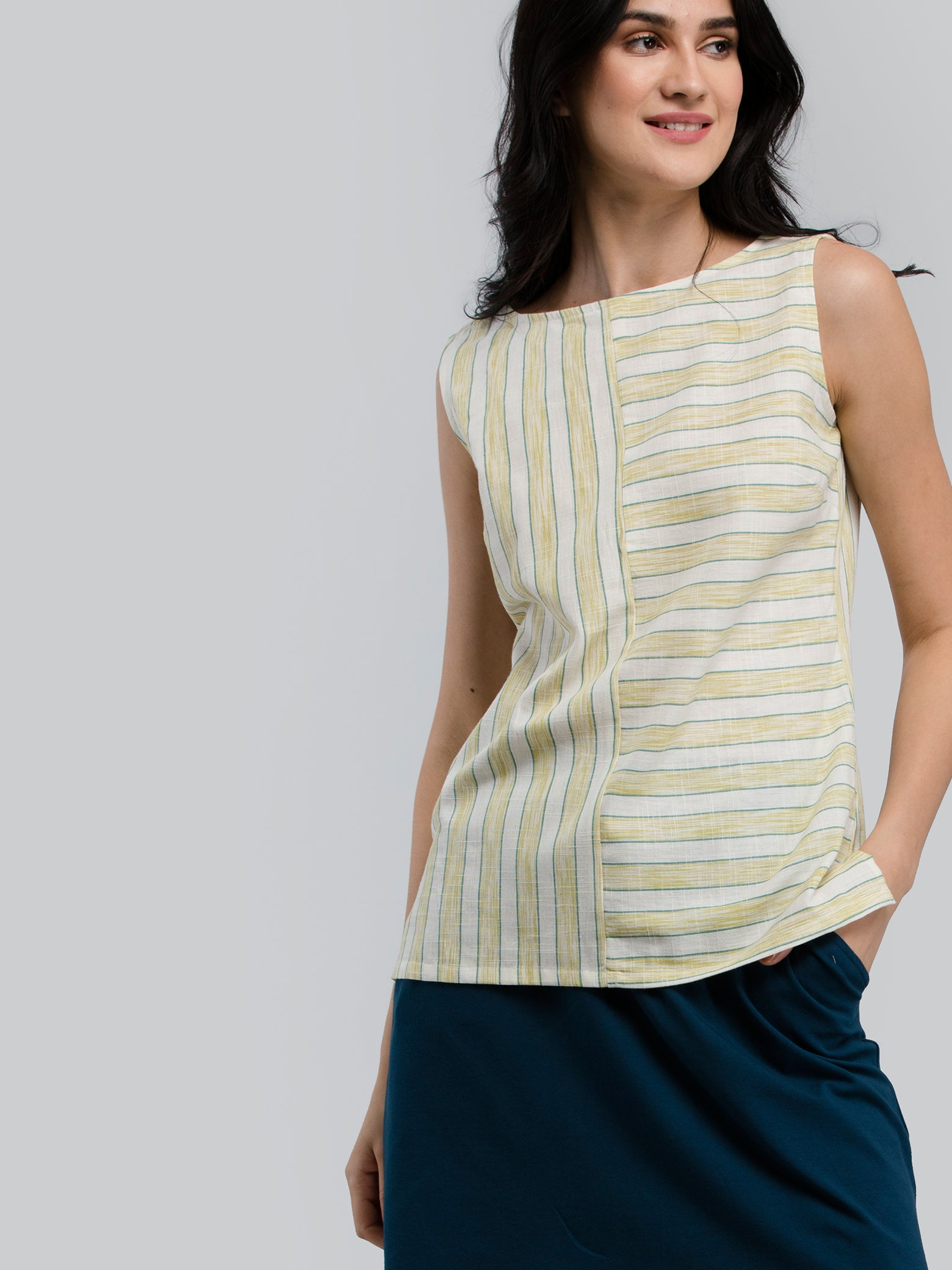 Cotton Striped Top - Lime