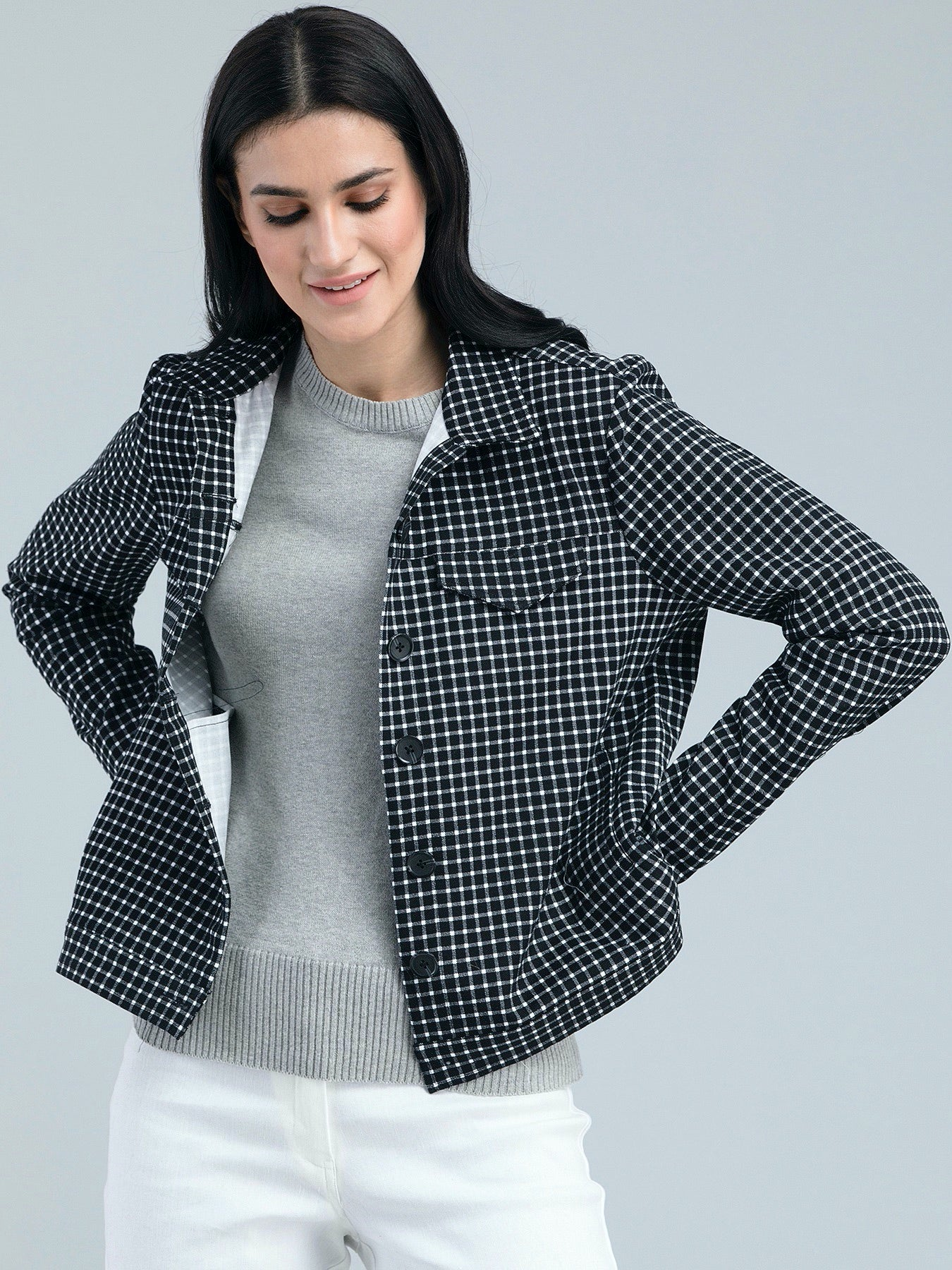 Cotton Twill Check Jacket - Black and White