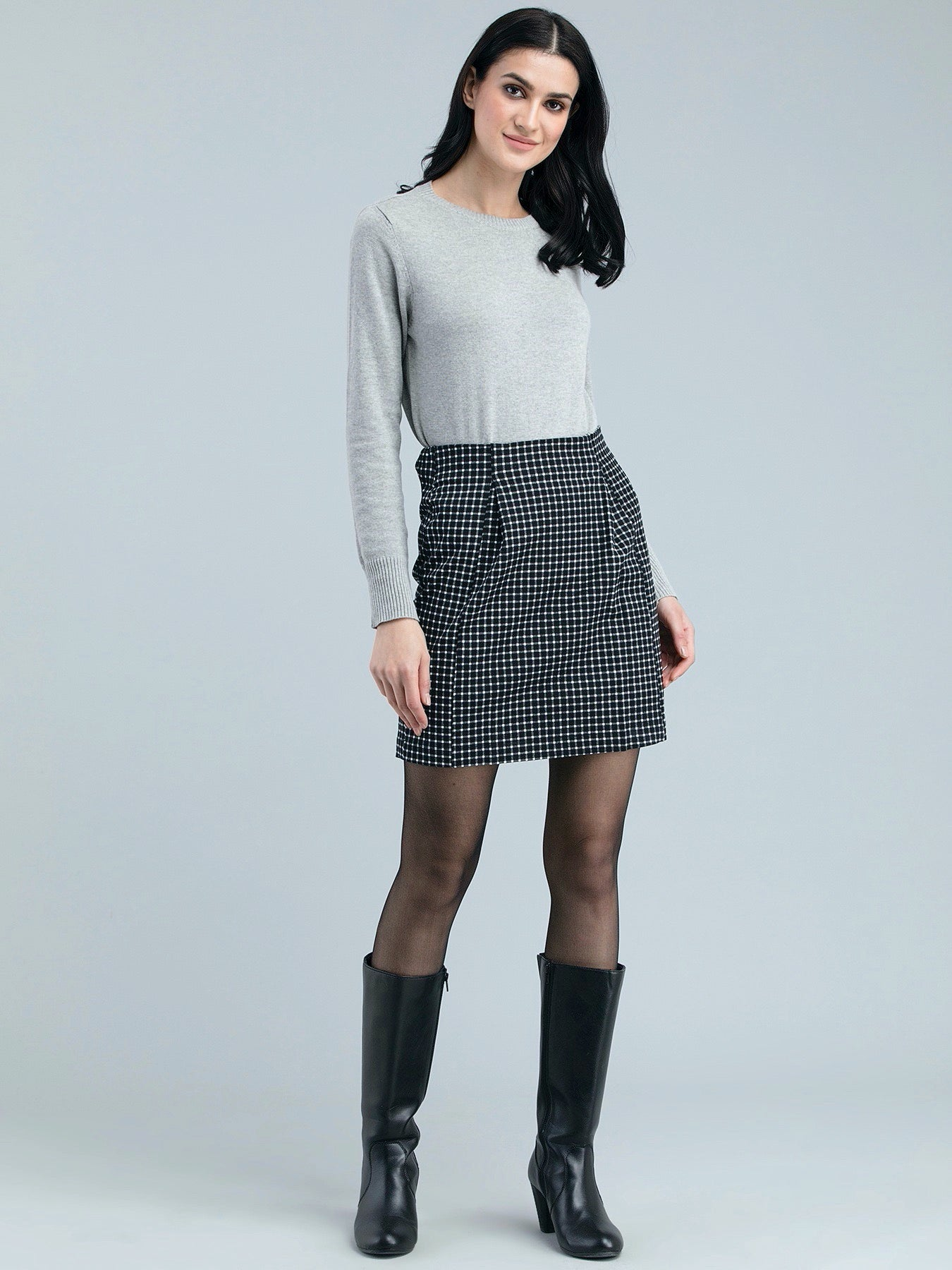 Cotton Twill Check Pencil Skirt - Black and White