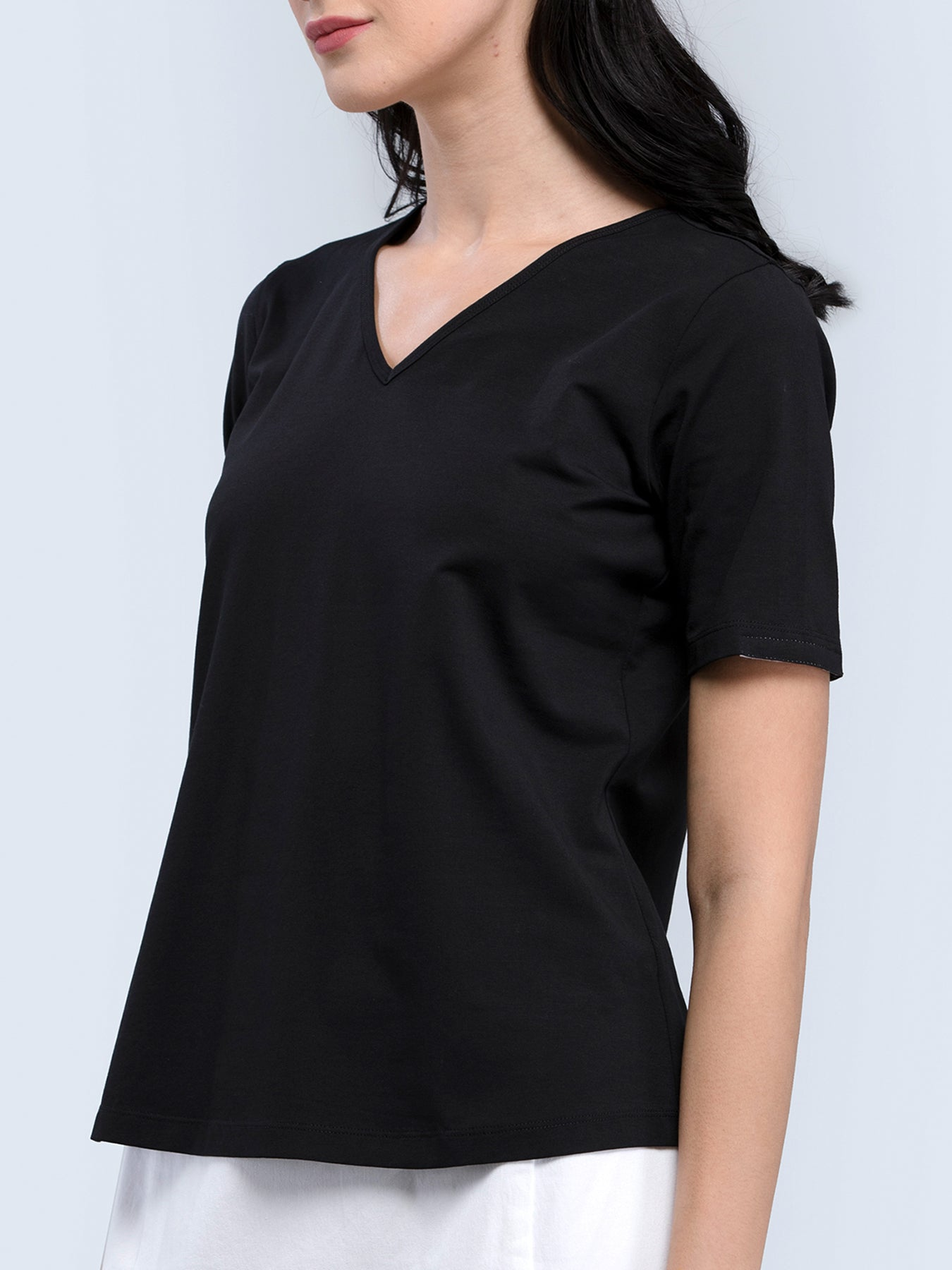 Cotton V Neck Knitted T Shirt - Black
