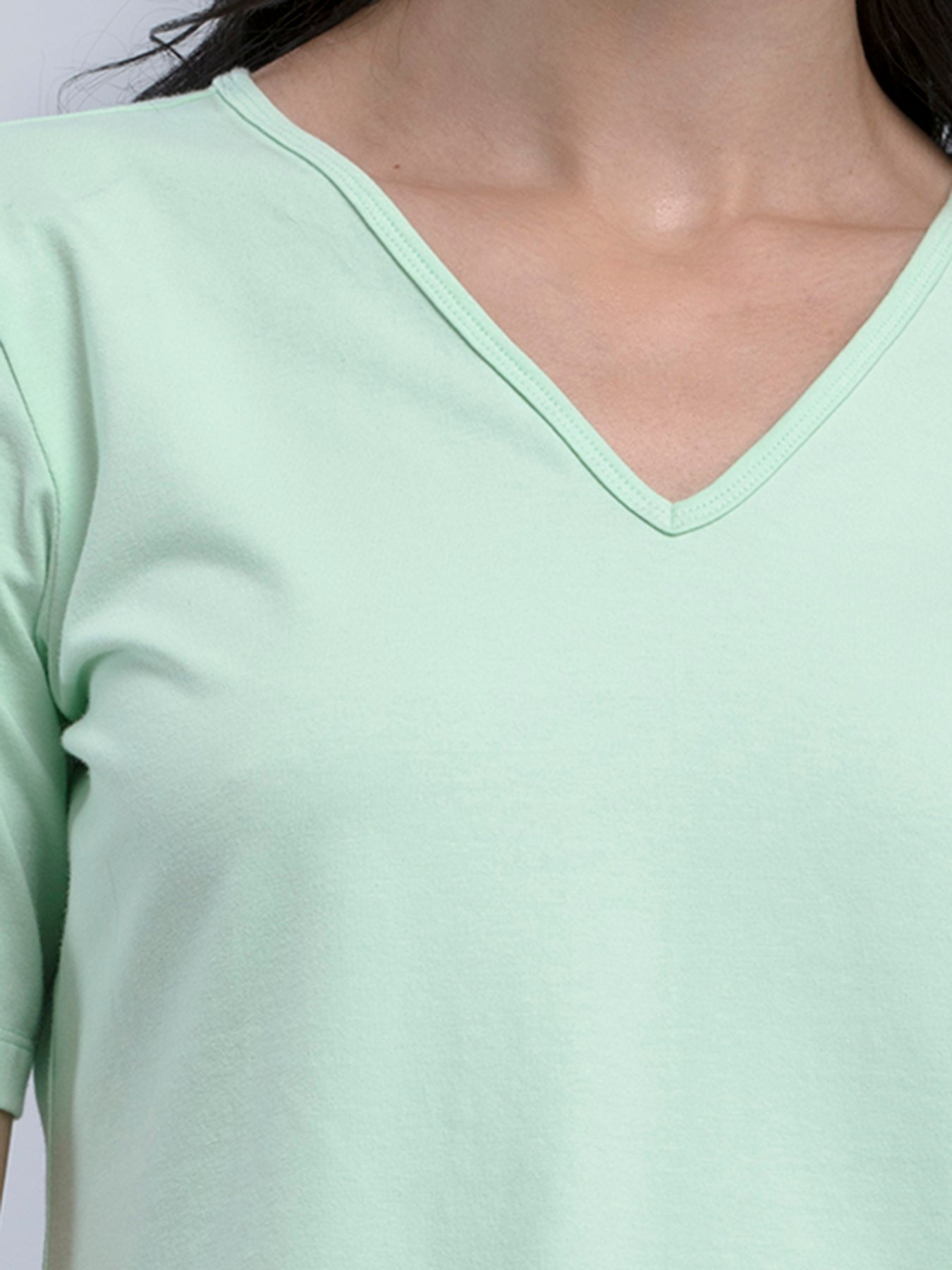 Cotton V Neck Knitted T Shirt - Mint Green