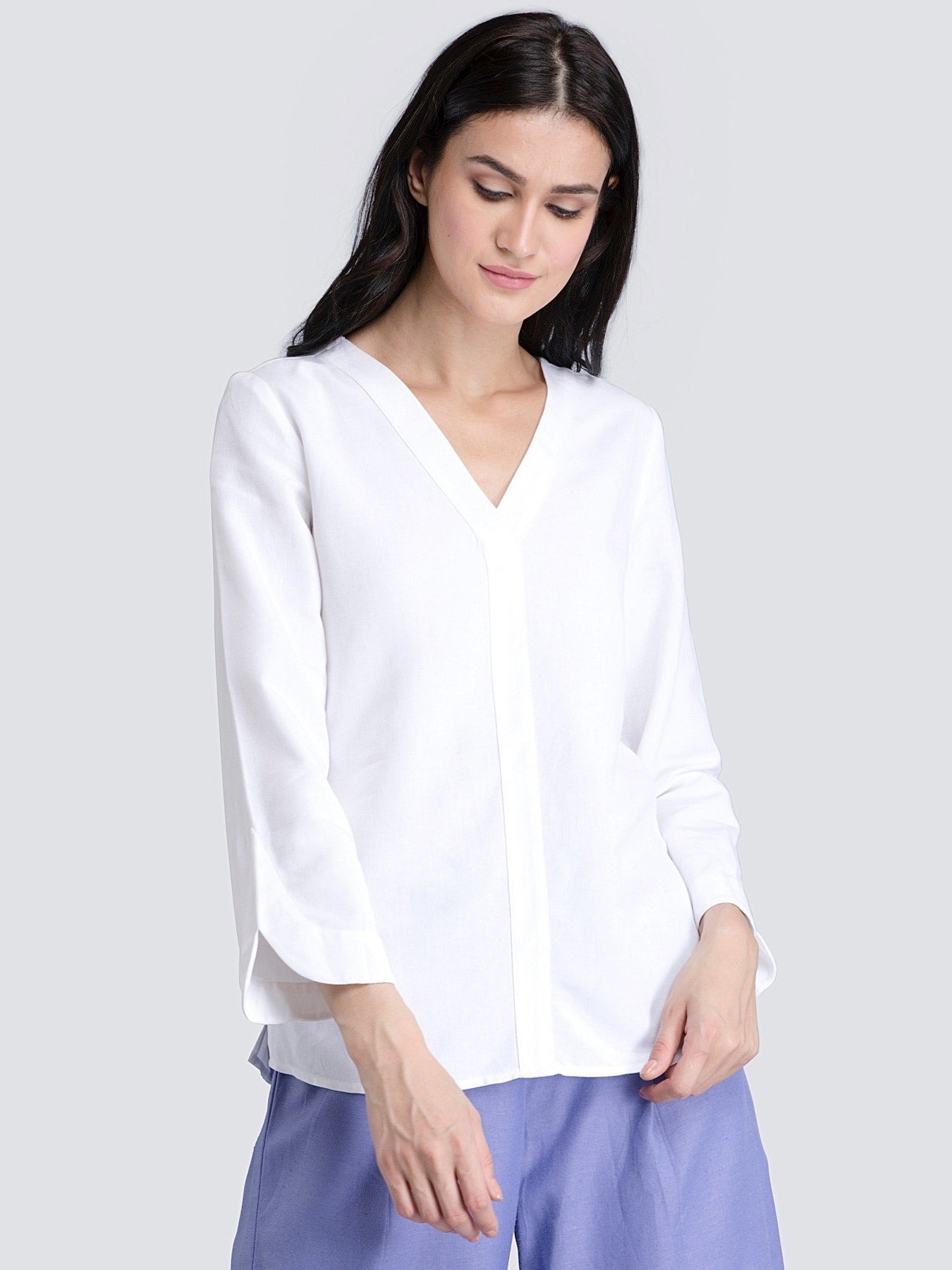Cotton V Neck Top With Stylish Sleeves - White