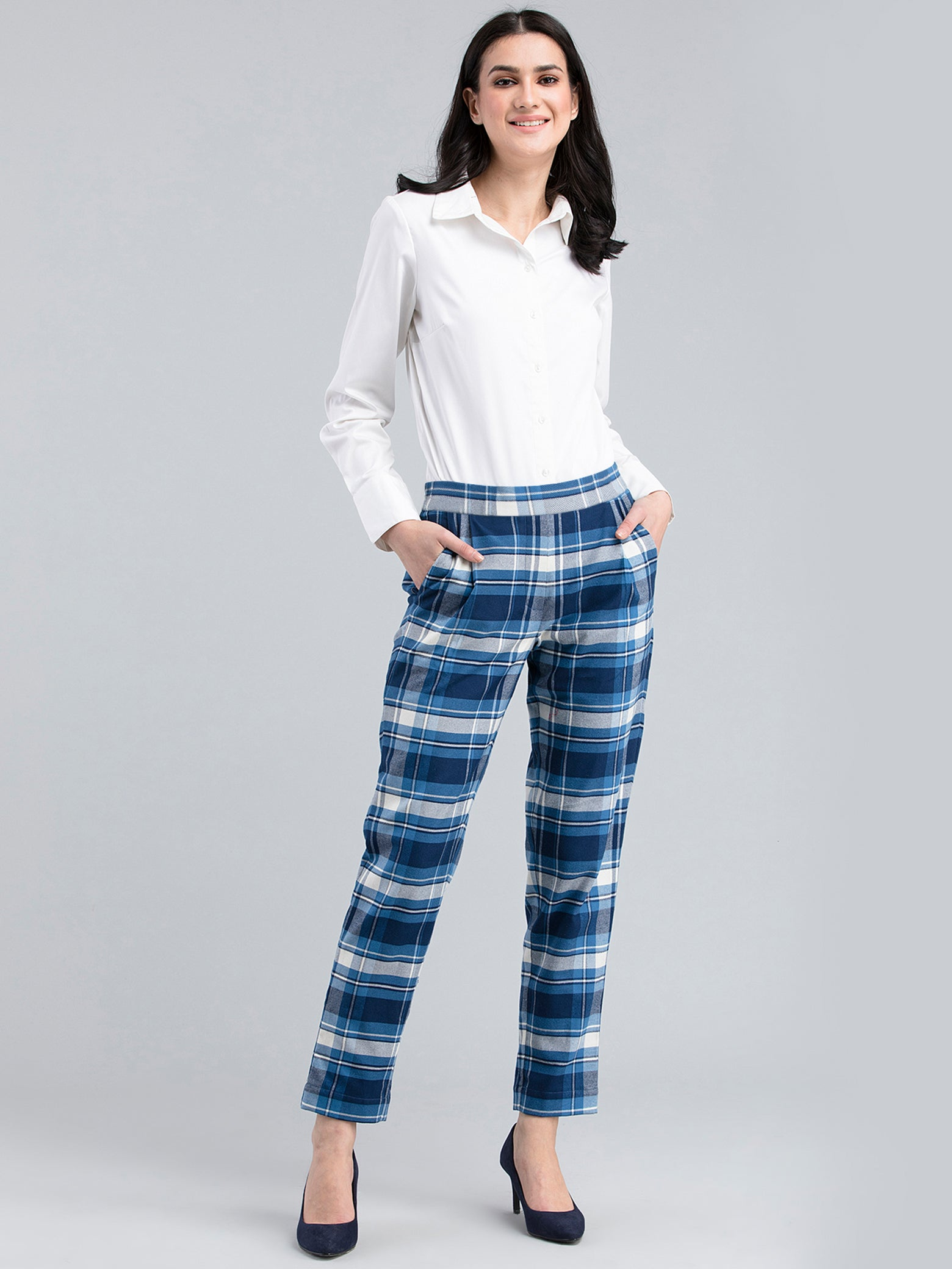 Cotton Wool Plaid Pants - Blue and White