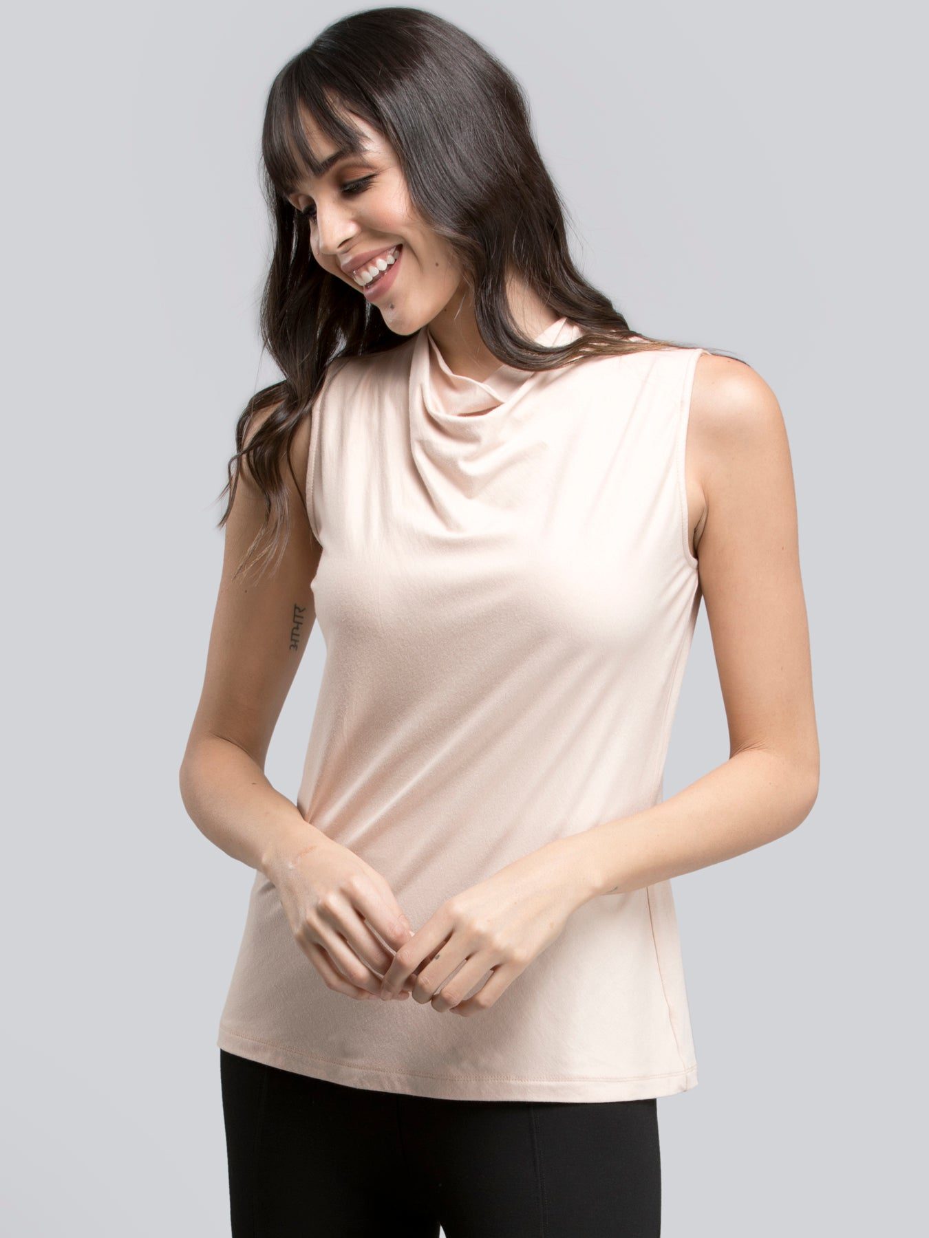 Cowl Neck Knitted T Shirt - Peach