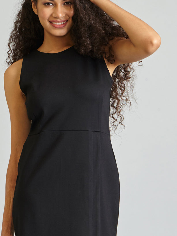 Structured Jersey Shift Dress - Black