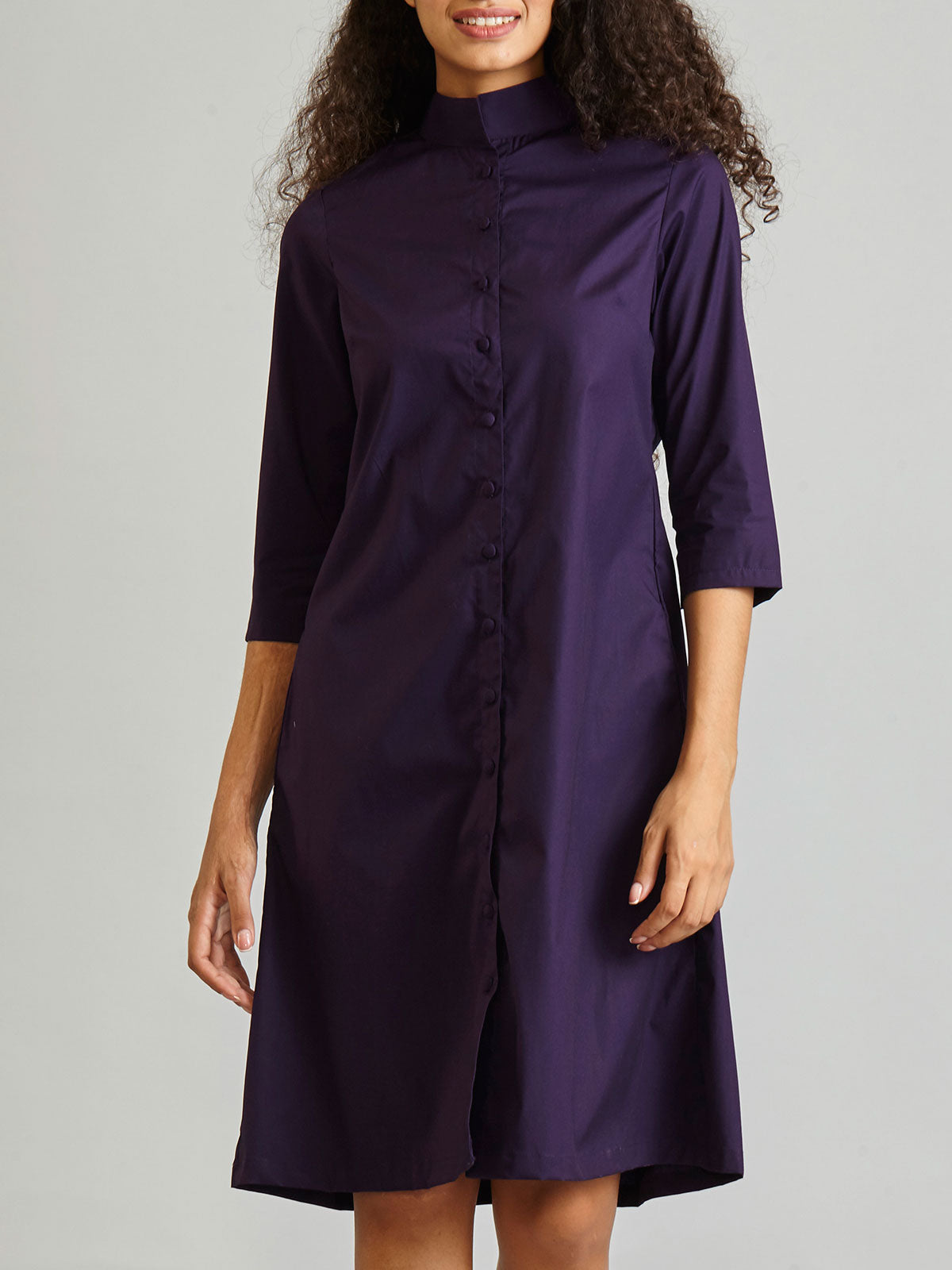 Poplin Shirt Dress - Blackcurrant