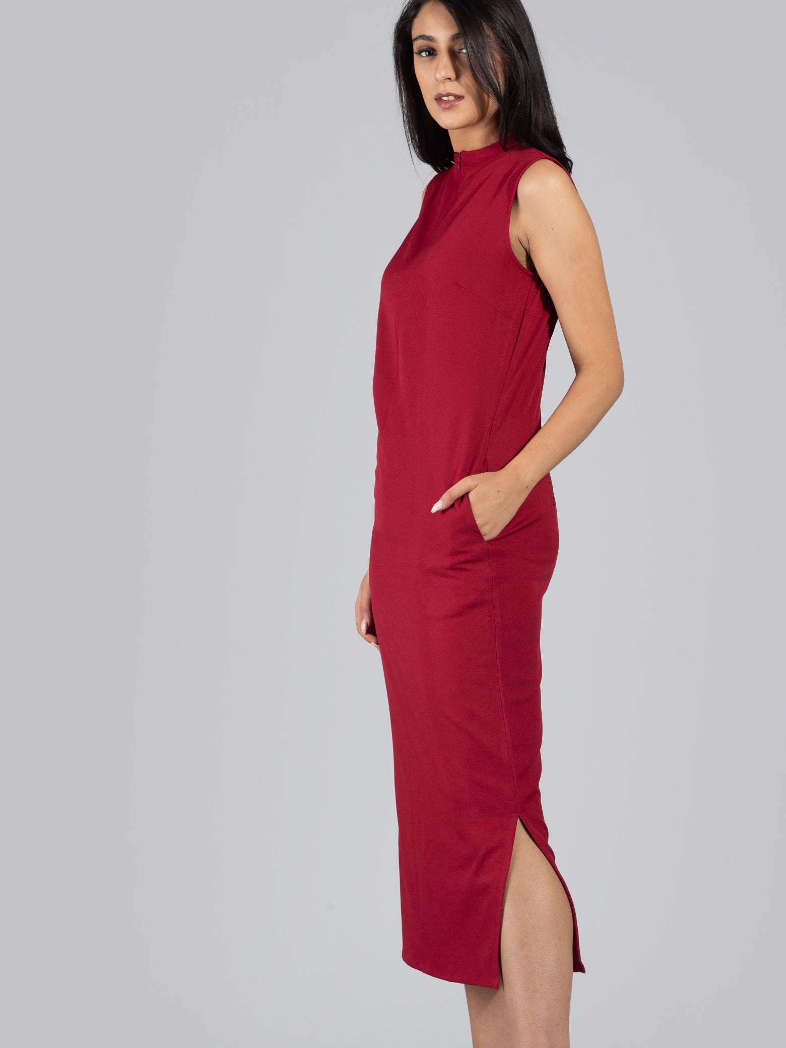 Front Zipper Two Way Neck Midi Dress - Carmine Red