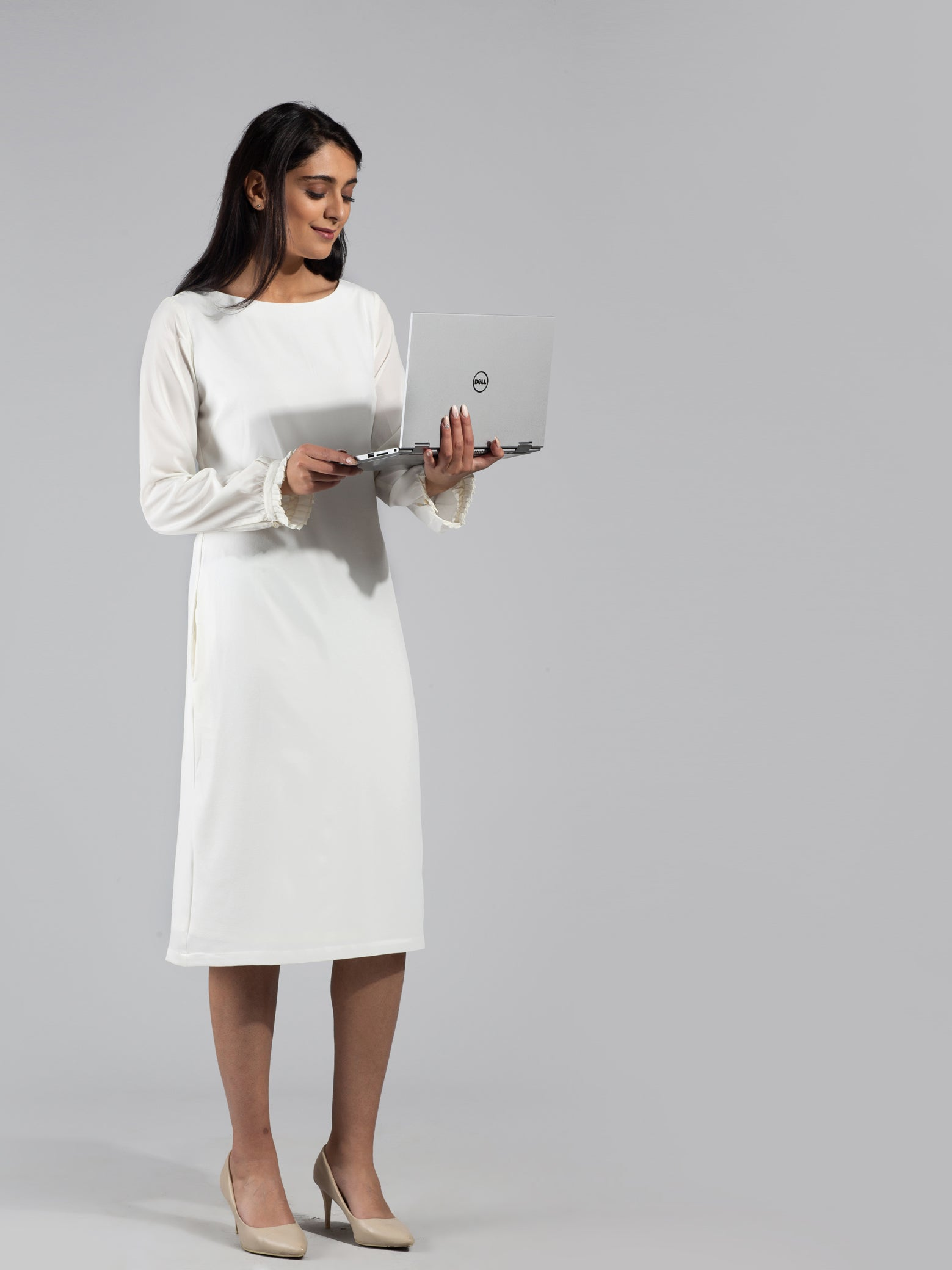 Full Sleeve Ruffle Detail Below Knee Shift Dress - Off White