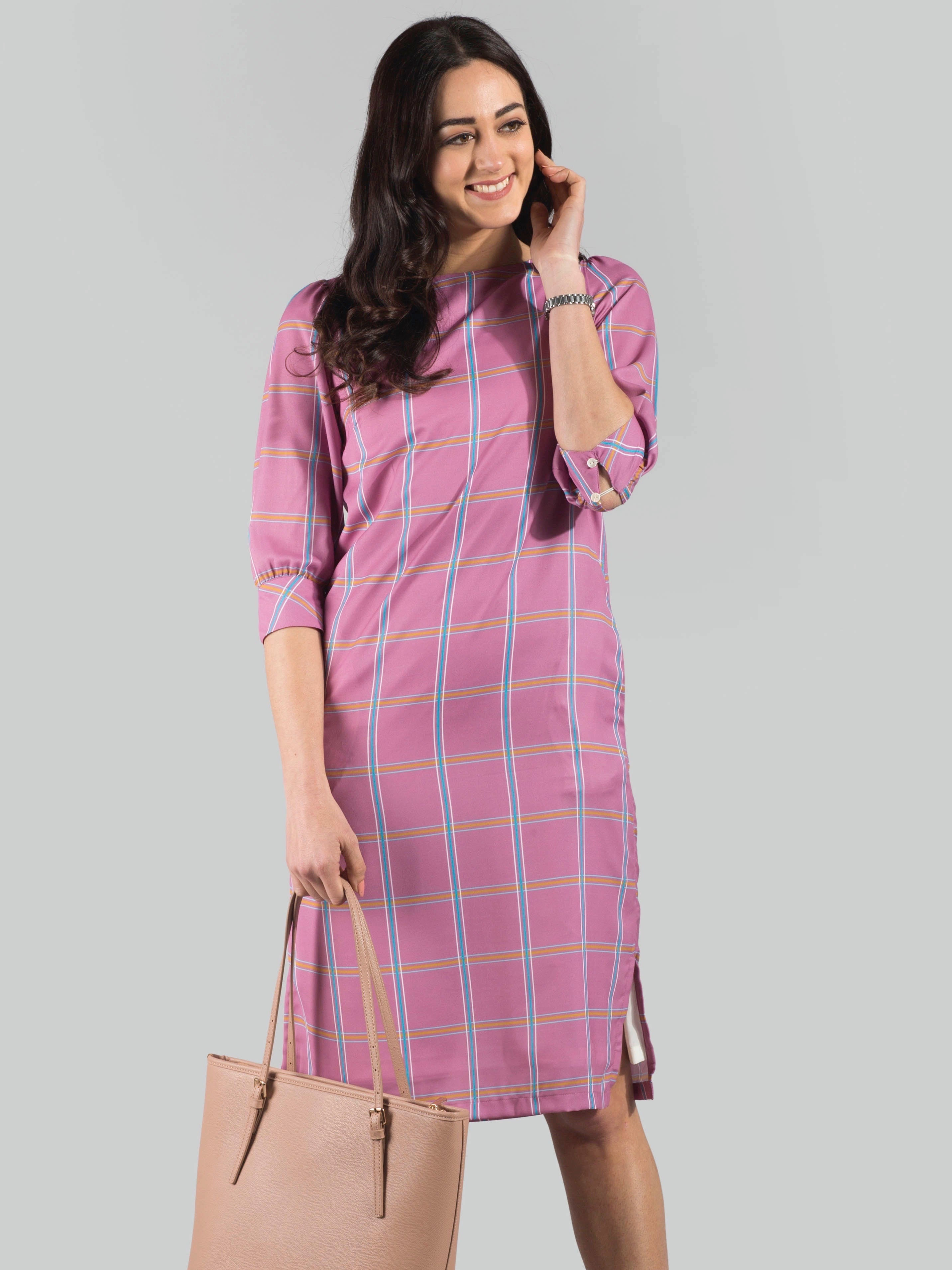 Round Neck Printed Check Dress - Dusty Pink