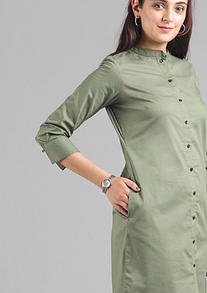 High Low Shirt Dress - Olive