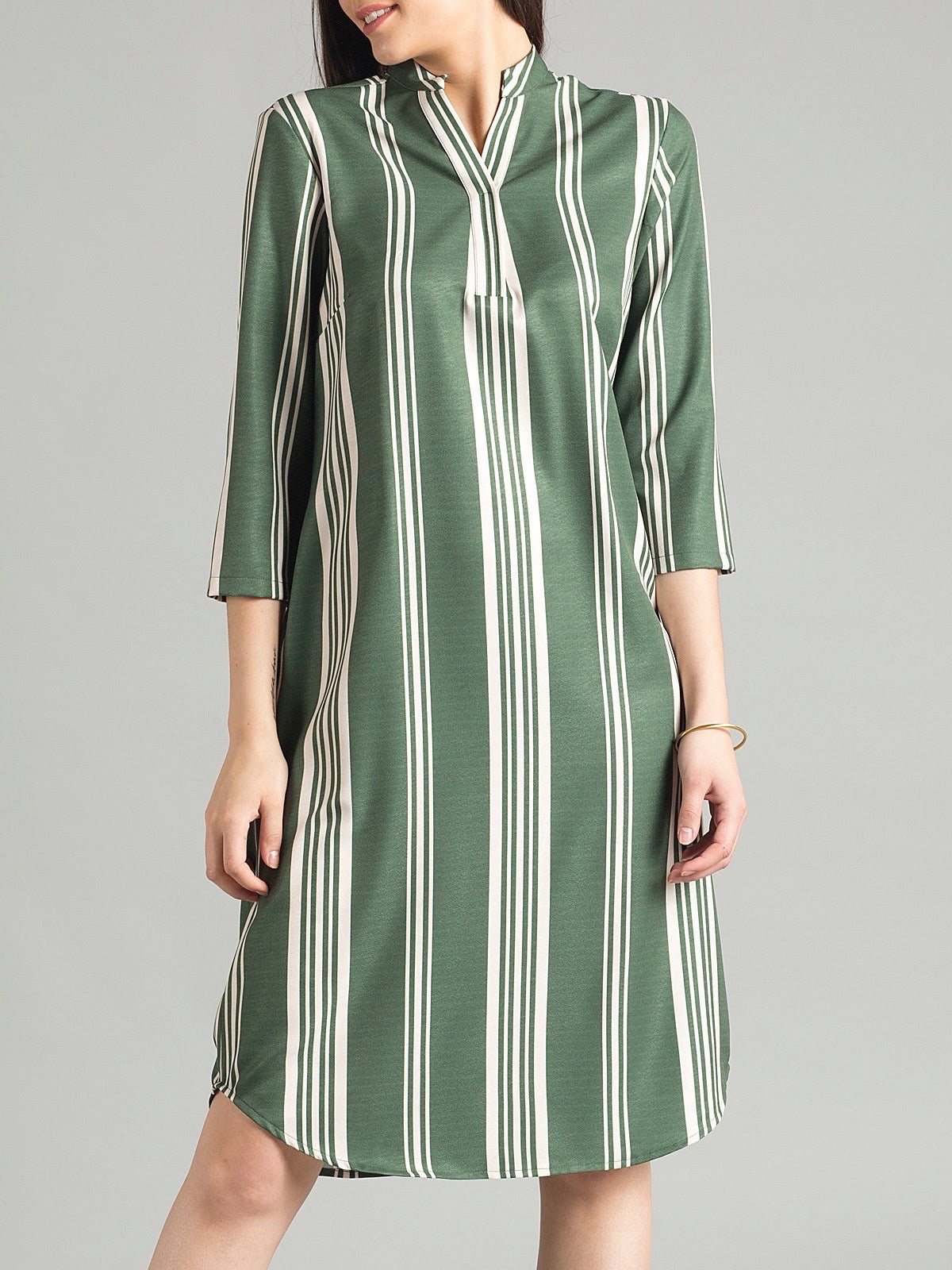 Open Mandarin Collar Printed Stripe Straight Fit Dress - Olive