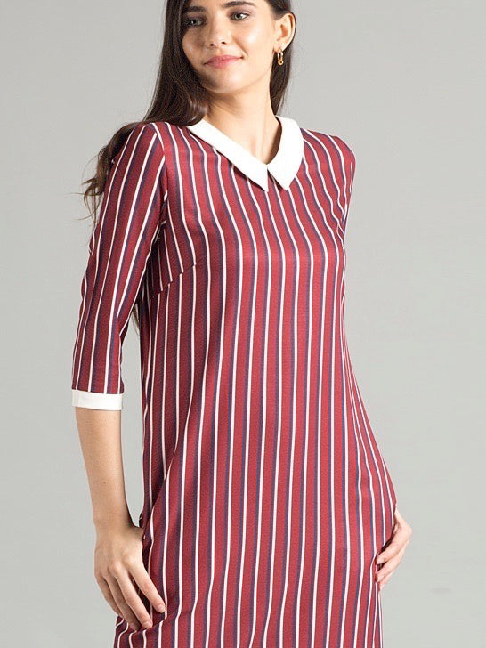 Vertical Striped Collared Shift Dress - Maroon