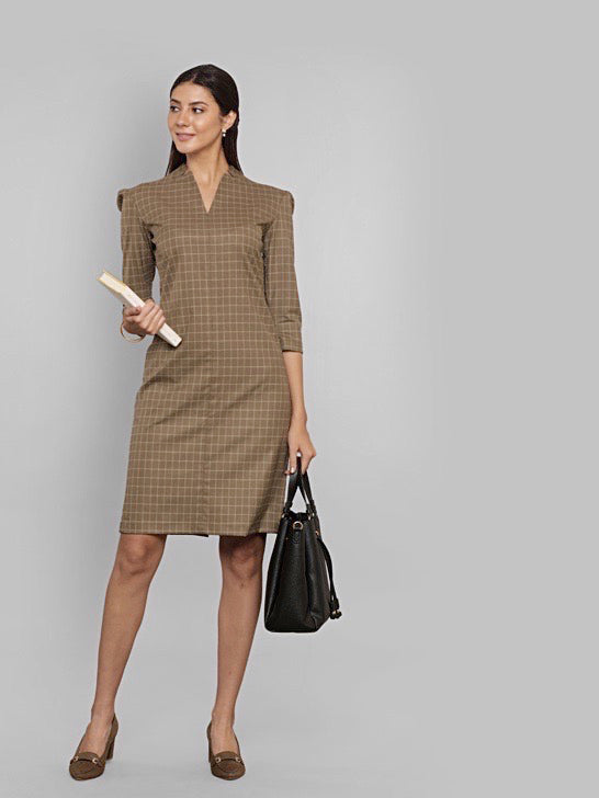 V Neck With Cut Out Detailing Knee Length Dress - Brown Check