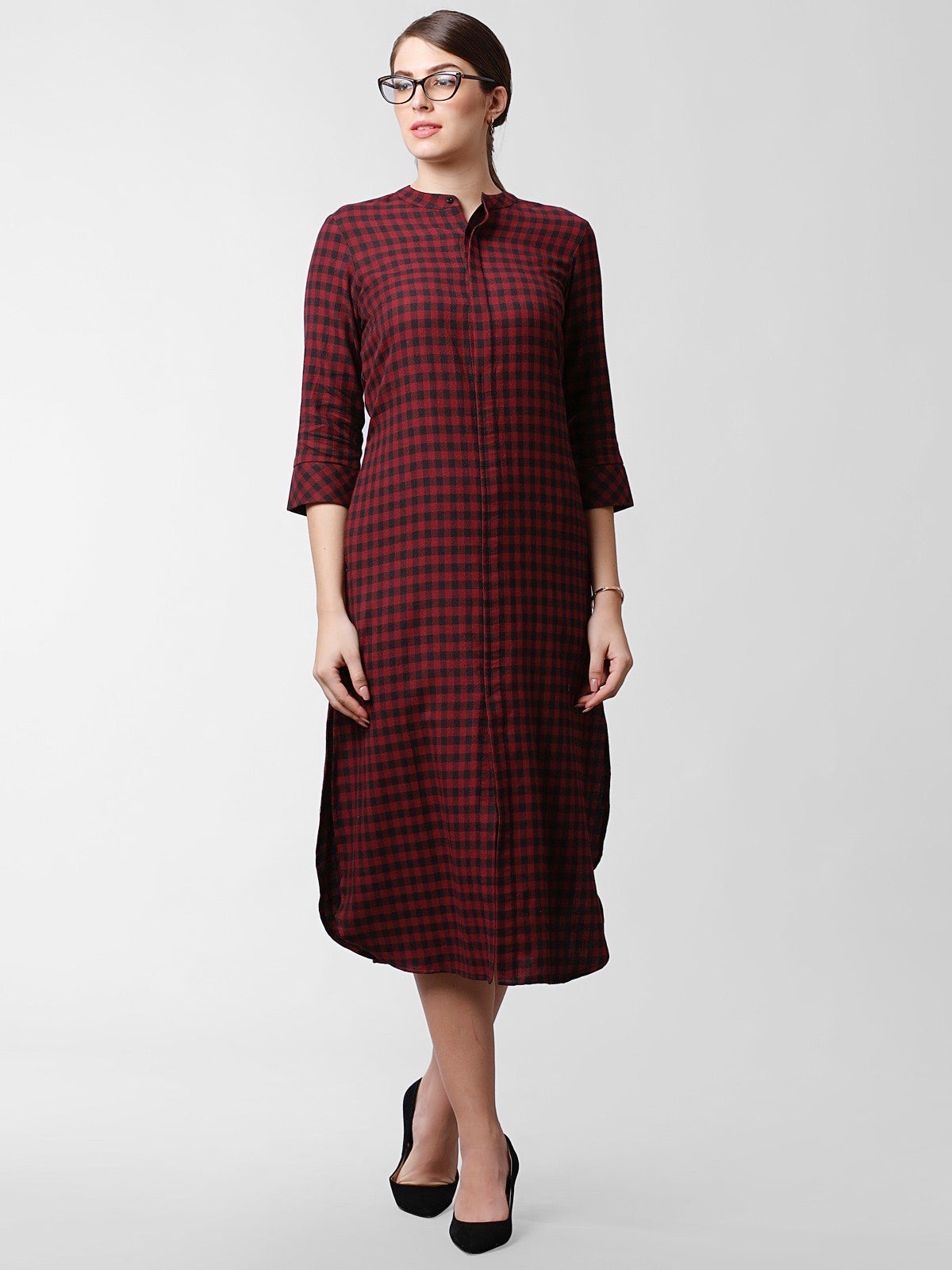 Mandarin Collar Check Shirt Dress - Pale Red & Black