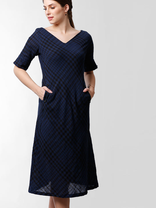 V Neck Check A Line Dress With Button Details - Navy & Black