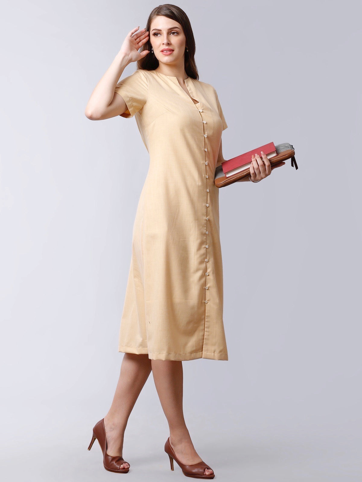 Stylised Neck Front Button Below Knee Dress - Yellow