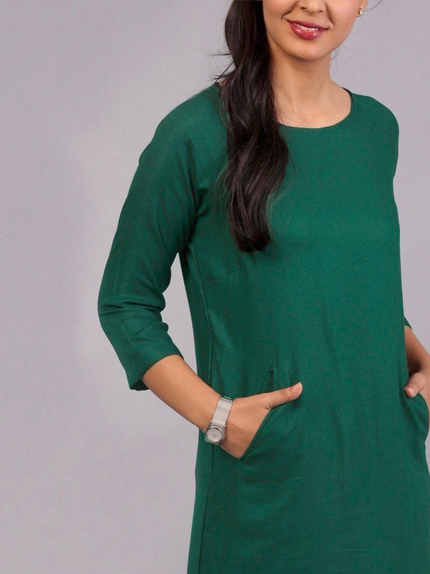 Round Neck Shift Dress - Bottle Green