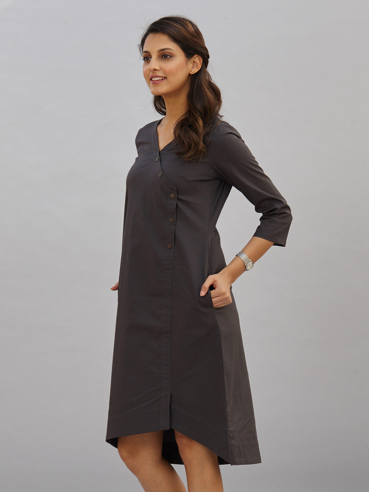 Side Button Asymmetric High Low Dress - Dark Grey
