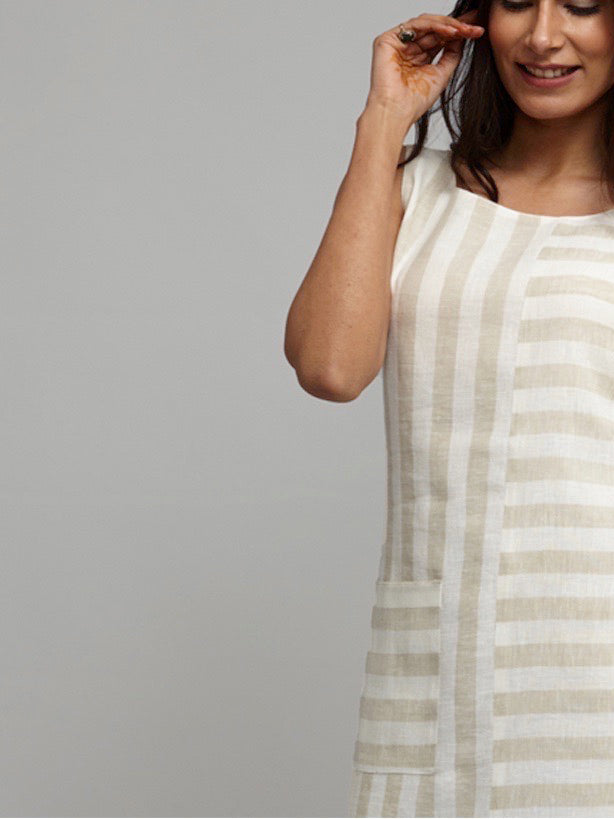 Front Pocket Striped Linen Shift Dress - Beige & Off White