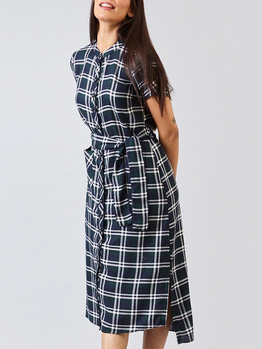Mandarin Collar Shirt Dress - Green Plaid