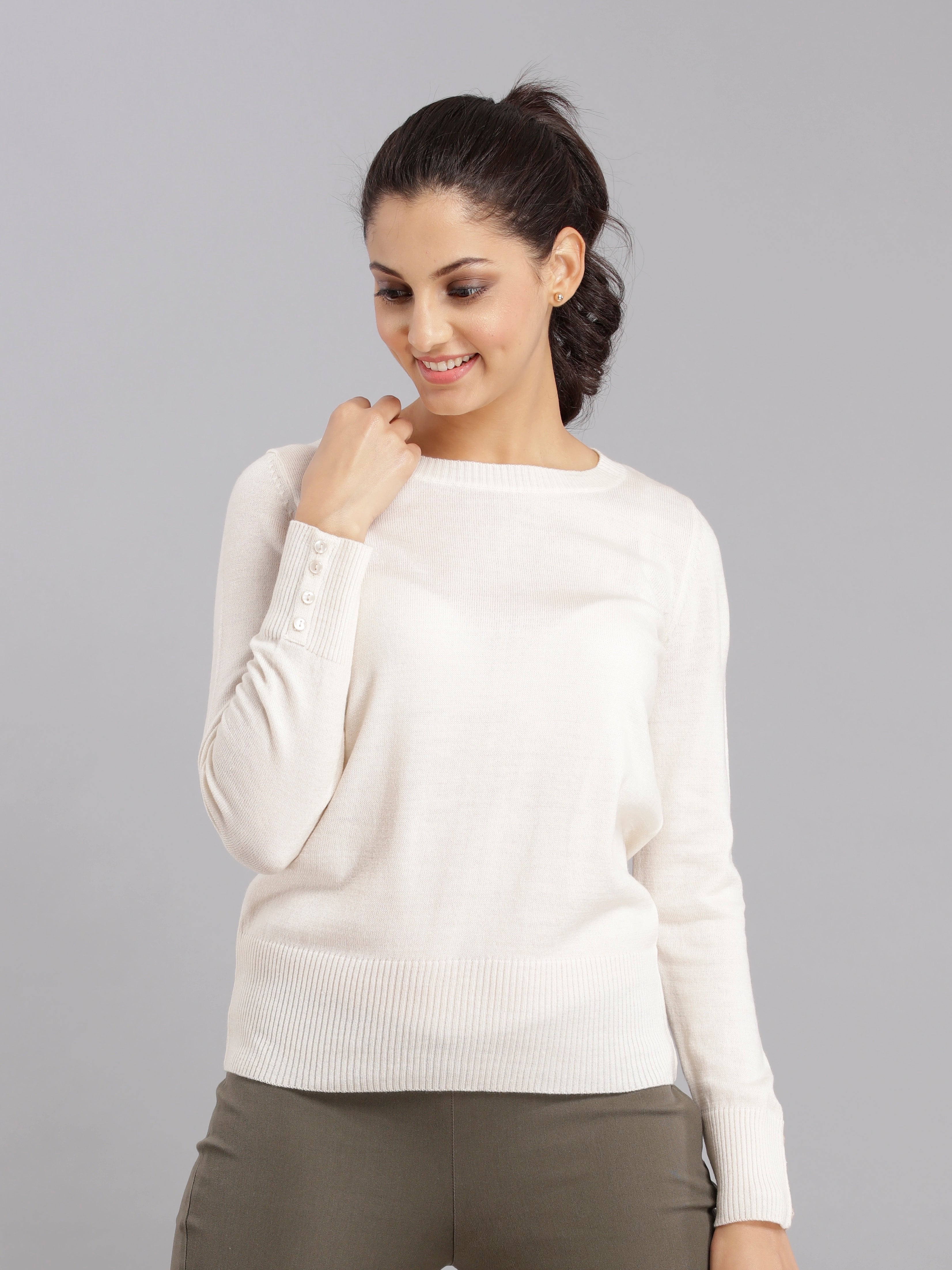 Essential Round Neck Knit - Off White