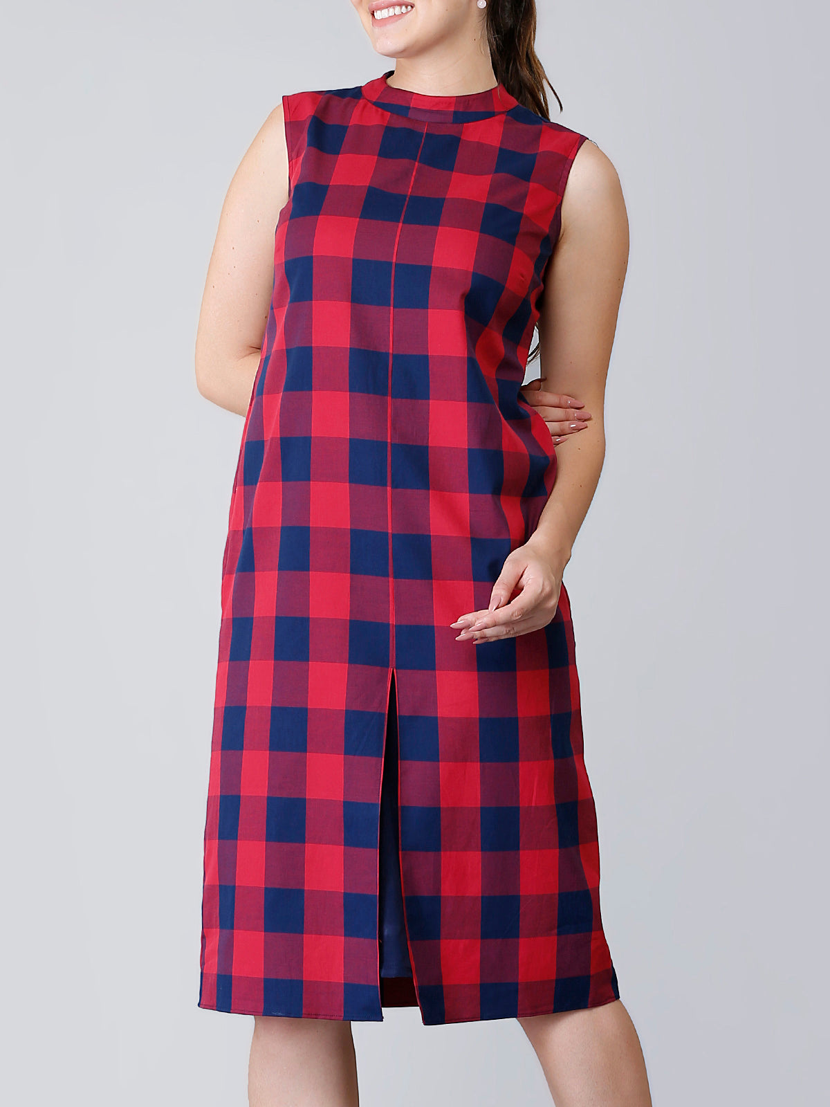 Front Slit Straight Fit Plaid Dress - Red & Navy