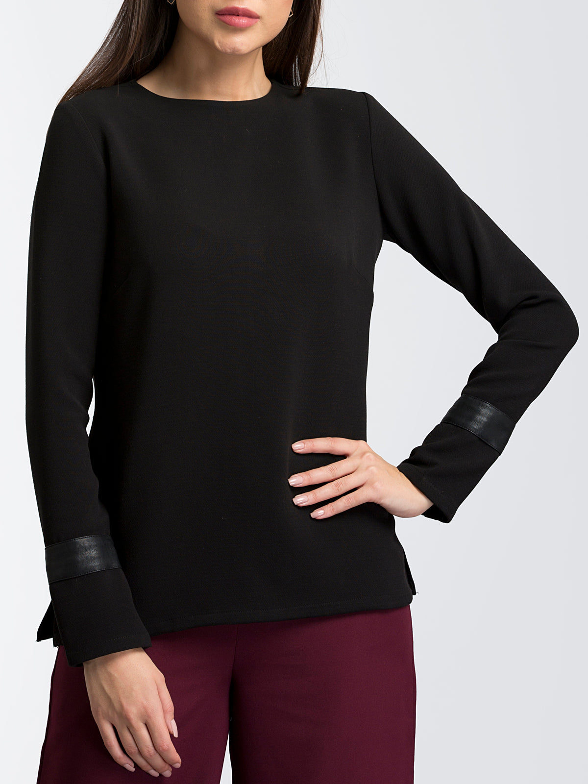 Full Sleeve Top With Faux Leather Details - Black