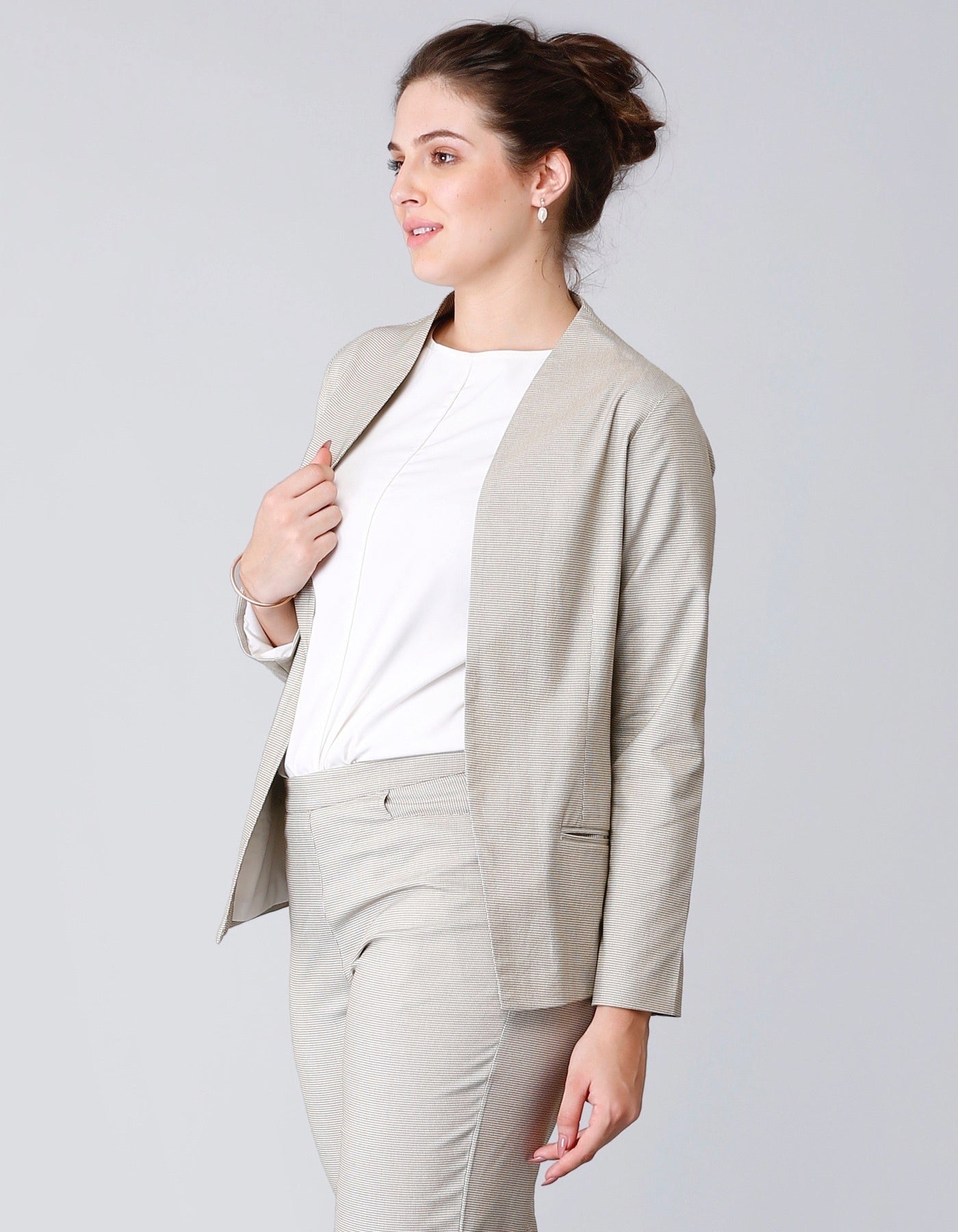 Houndstooth Formal Jacket - Beige