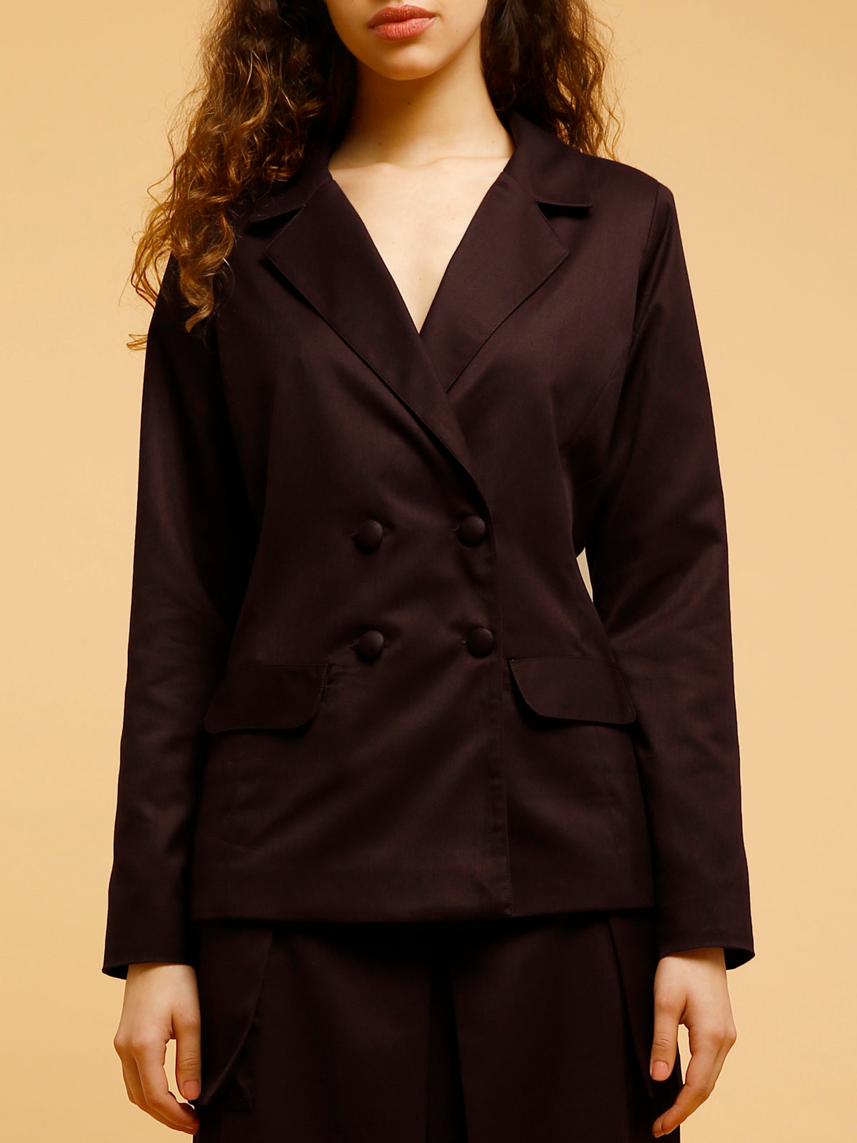 Jacket With Lapel And Buttons - Maroon